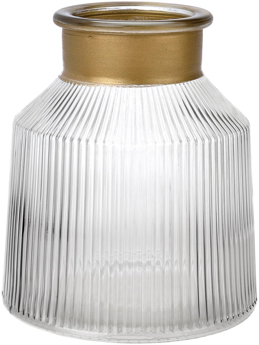 Glas-Vase Junyell, Rand: Glas, lackiert, Vase: Glas, Goldfarben, Transparent, Ø 14 x H 16 cm