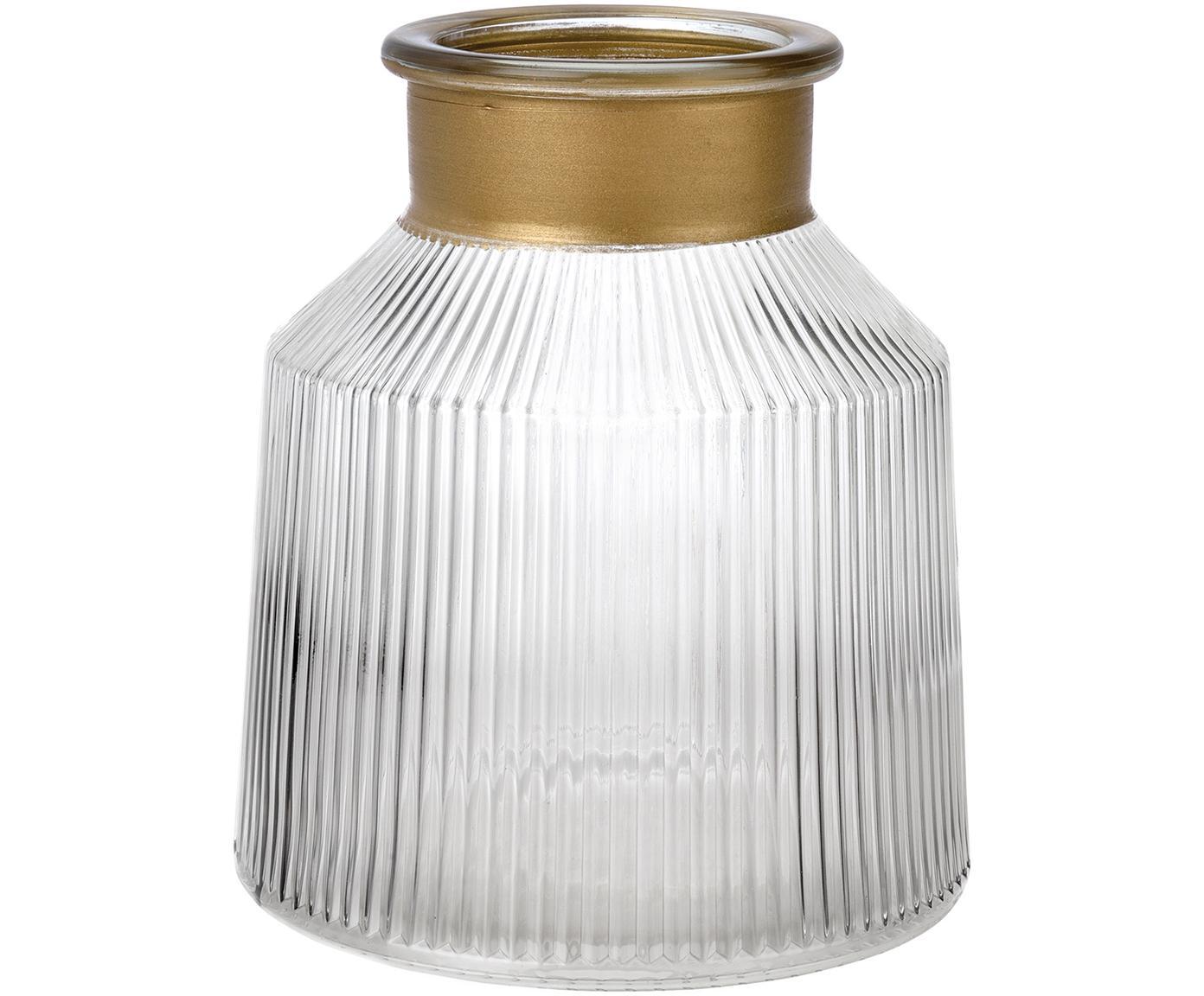 Jarrón de vidrio Junyell, Borde: vidrio, pintado, Jarrón: vidrio, Dorado, transparente, Ø 14 x Al 16 cm