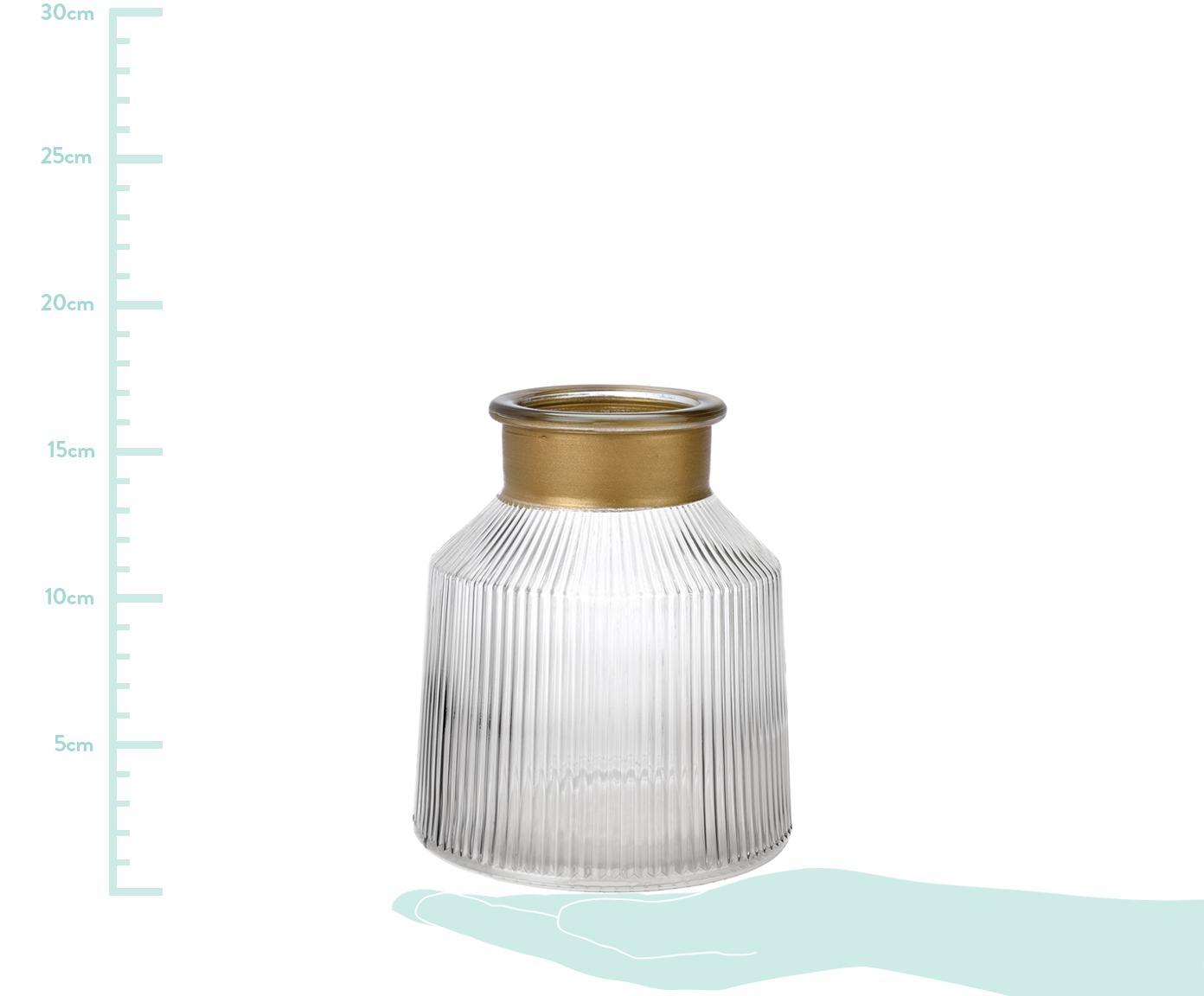 Vaso in vetro Junyell, Bordo: vetro verniciato, Vaso: vetro, Dorato trasparente, Ø 14 x Alt. 16 cm