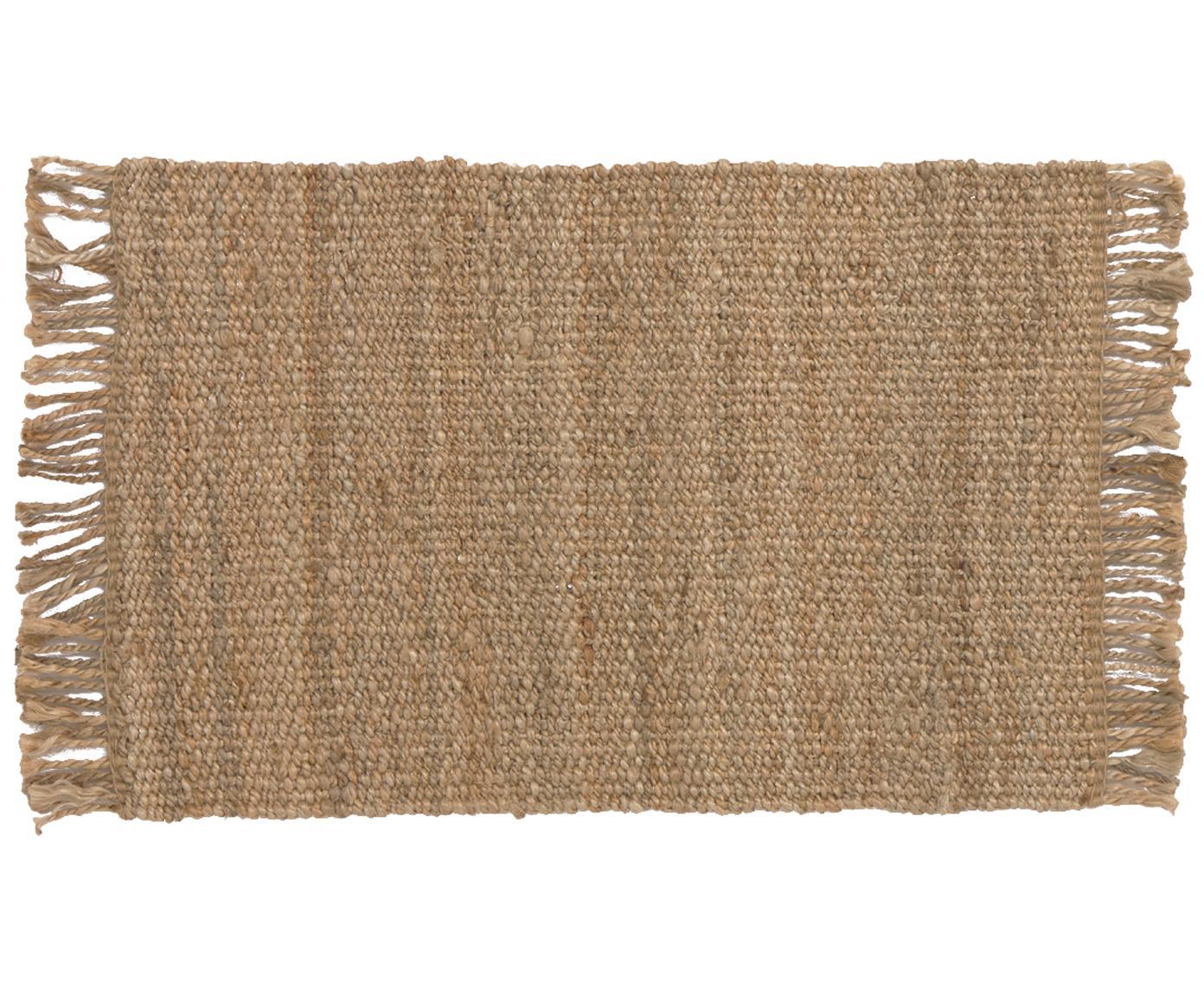 Alfombra artesanal de yute con flecos Cadiz, Yute, Yute, An 60 x L 90 cm (Tamaño XXS)