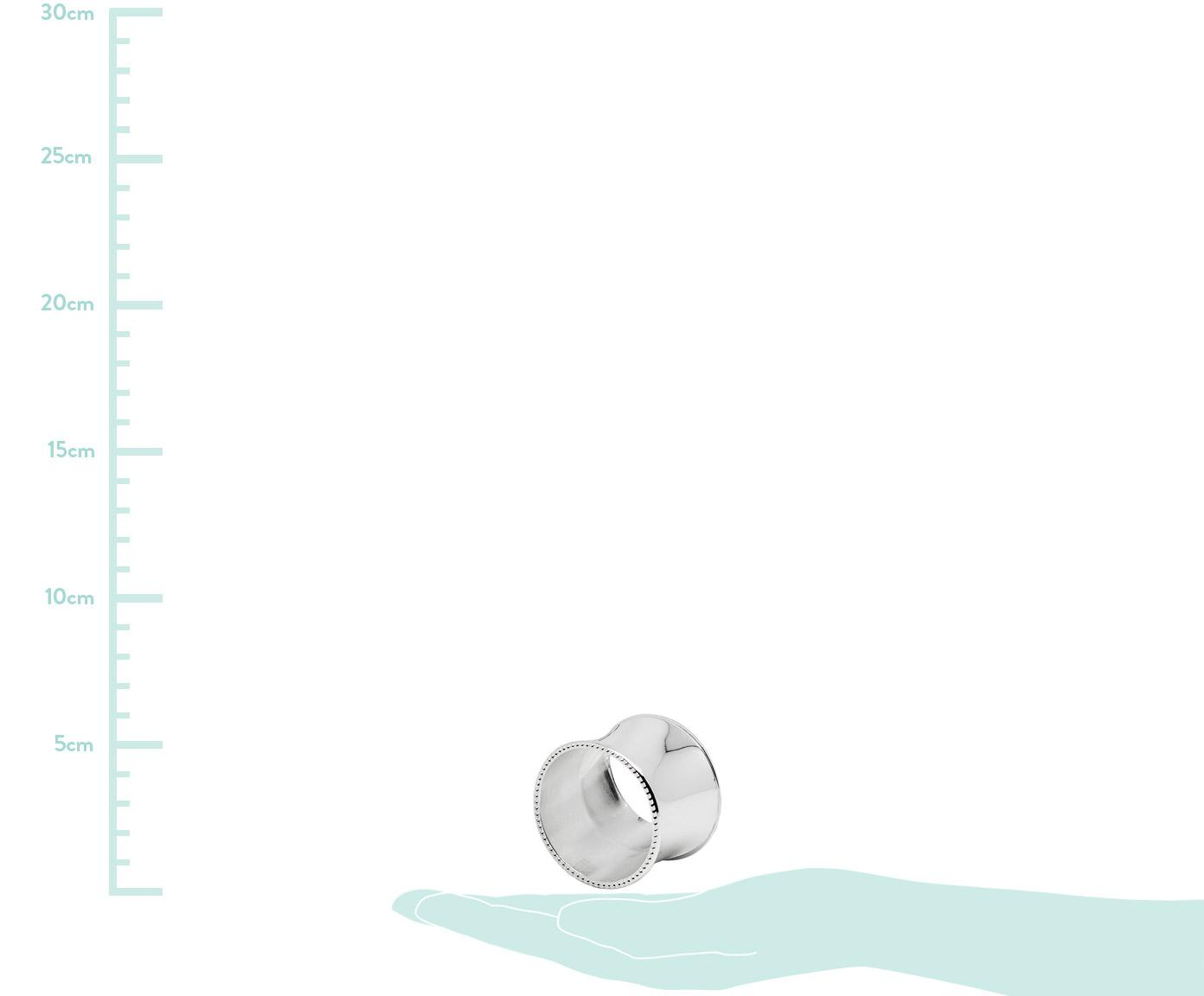 Serviettenringe Perla, 4 Stück, Stahl, versilbert und anlaufgeschützt, Silber, Ø 5 x H 4 cm