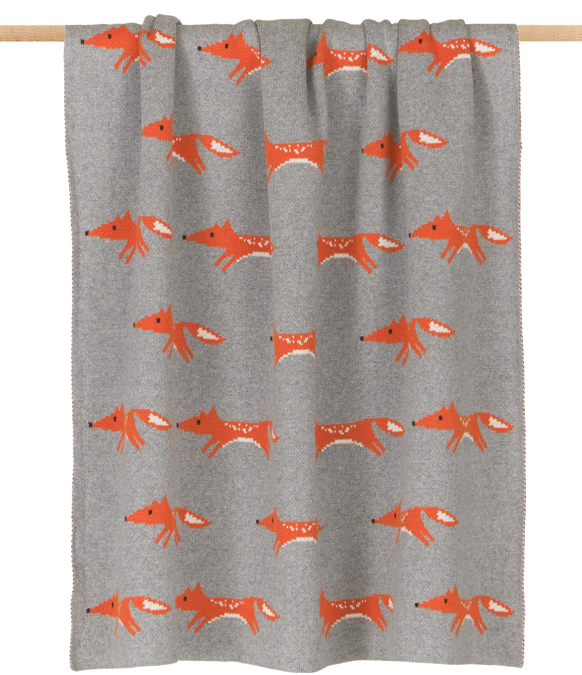 Plaid Luciana van biokatoen, Biokatoen, Grijs, oranje, 80 x 100 cm