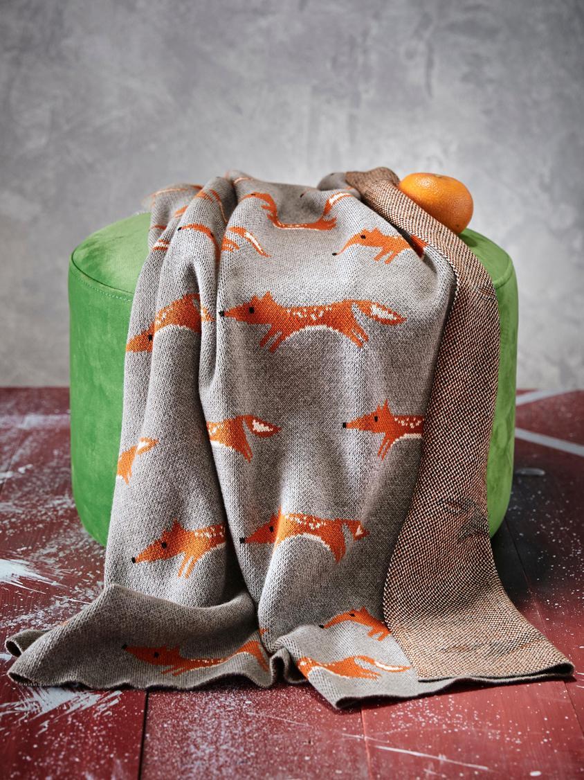Pléd zorganické bavlny Luciana, Šedá, oranžová