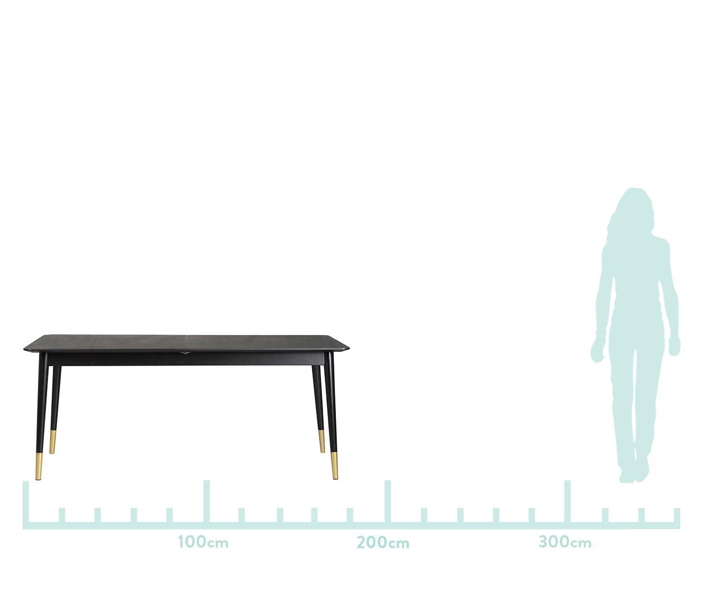 Ausziehbarer Esstisch Fenwood in Schwarz, Tischplatte: Mitteldichte Holzfaserpla, Beine: Eichenholz, massiv, gedre, Schwarz, Messingfarben, B 180 bis 260 x T 90 cm