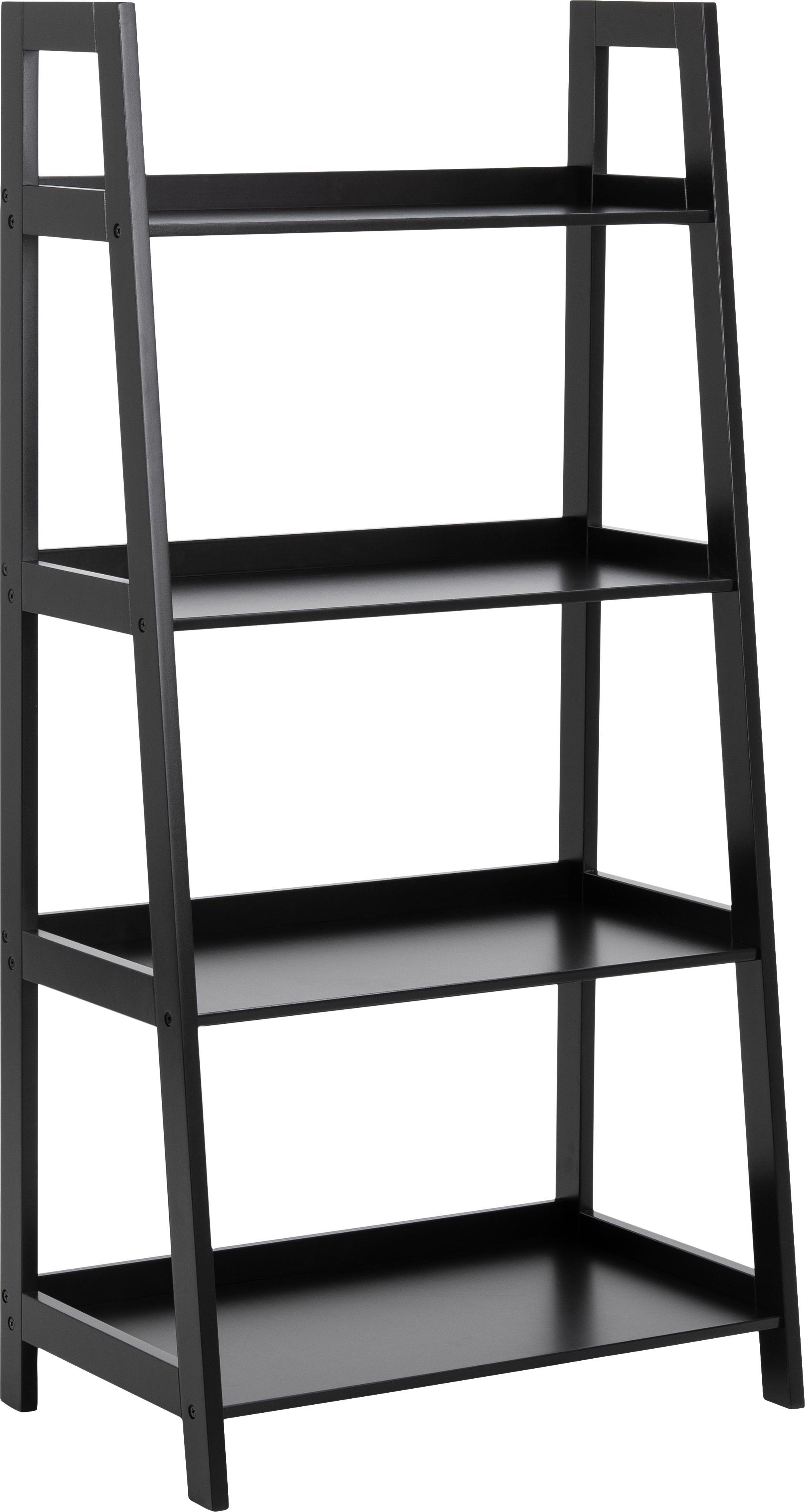 Estantería escalera Wally, Tablero de fibras de densidad media(MDF) pintado, Negro, An 63 x Al 130 cm