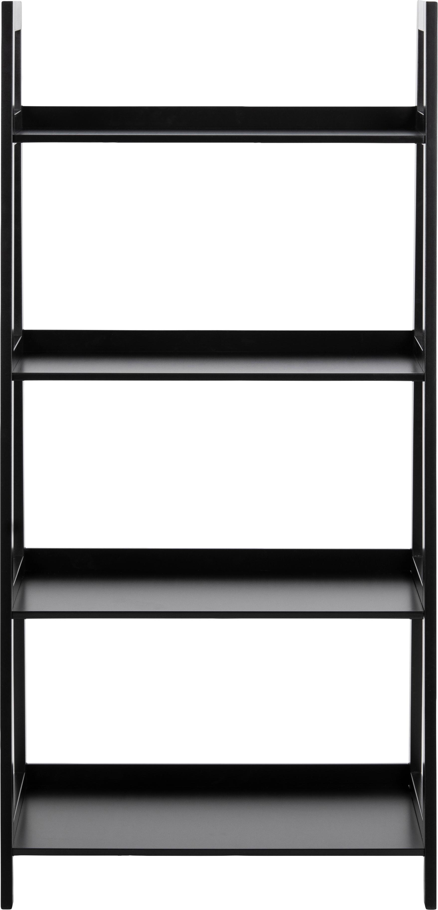 Standregal Wally in Schwarz, Mitteldichte Holzfaserplatte (MDF), lackiert, Schwarz, 63 x 130 cm