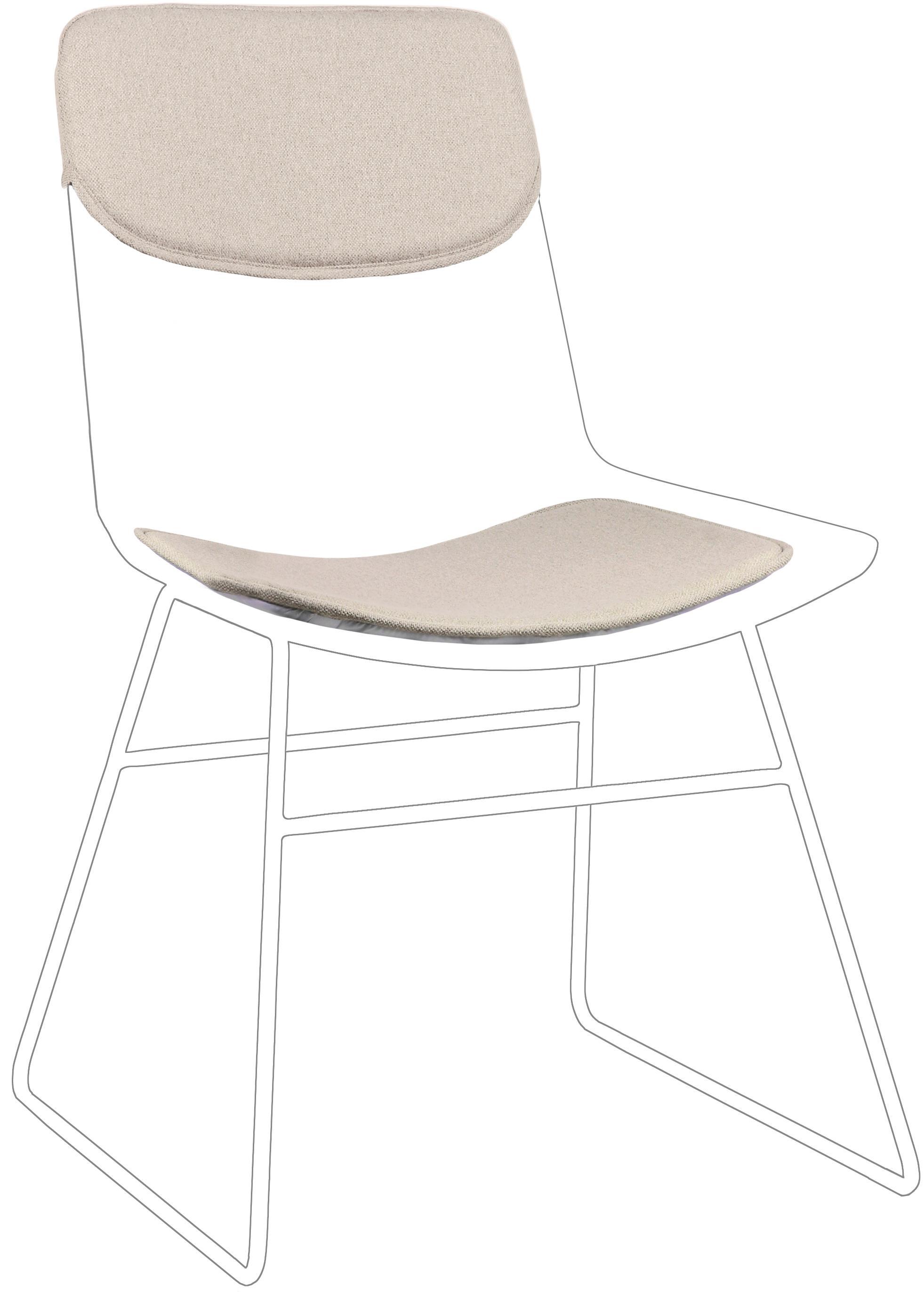 Sitzauflagen-Set für Metall-Stuhl Wire, 2-tlg., Bezug: 60% Leinen, 30% Baumwolle, Beige, Set mit verschiedenen Grössen