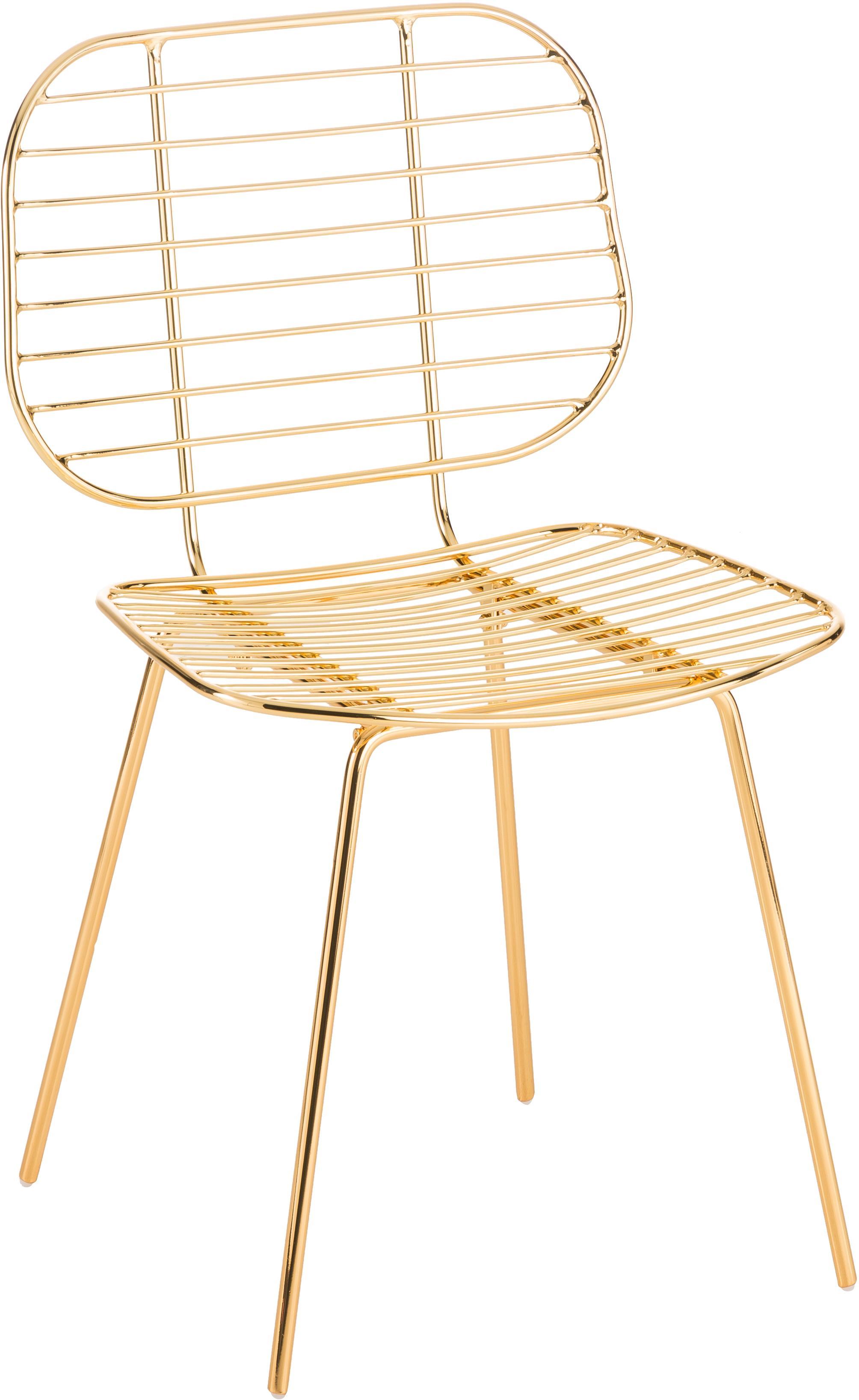Sedia in metallo Chloé, Metallo rivestito, Ottone, Larg. 48 x Prof. 51 cm