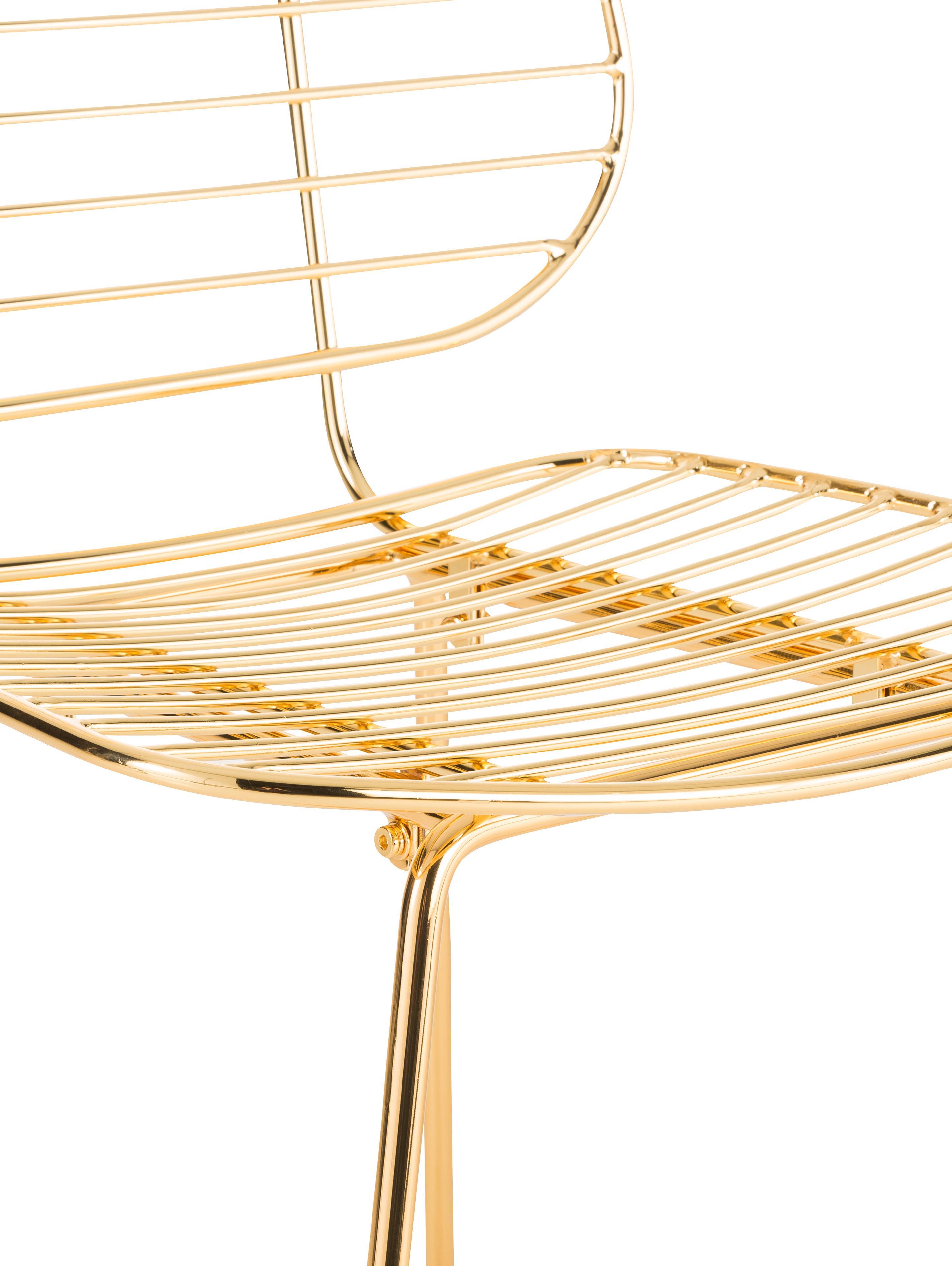 Chaise métal design Chloé, Laiton