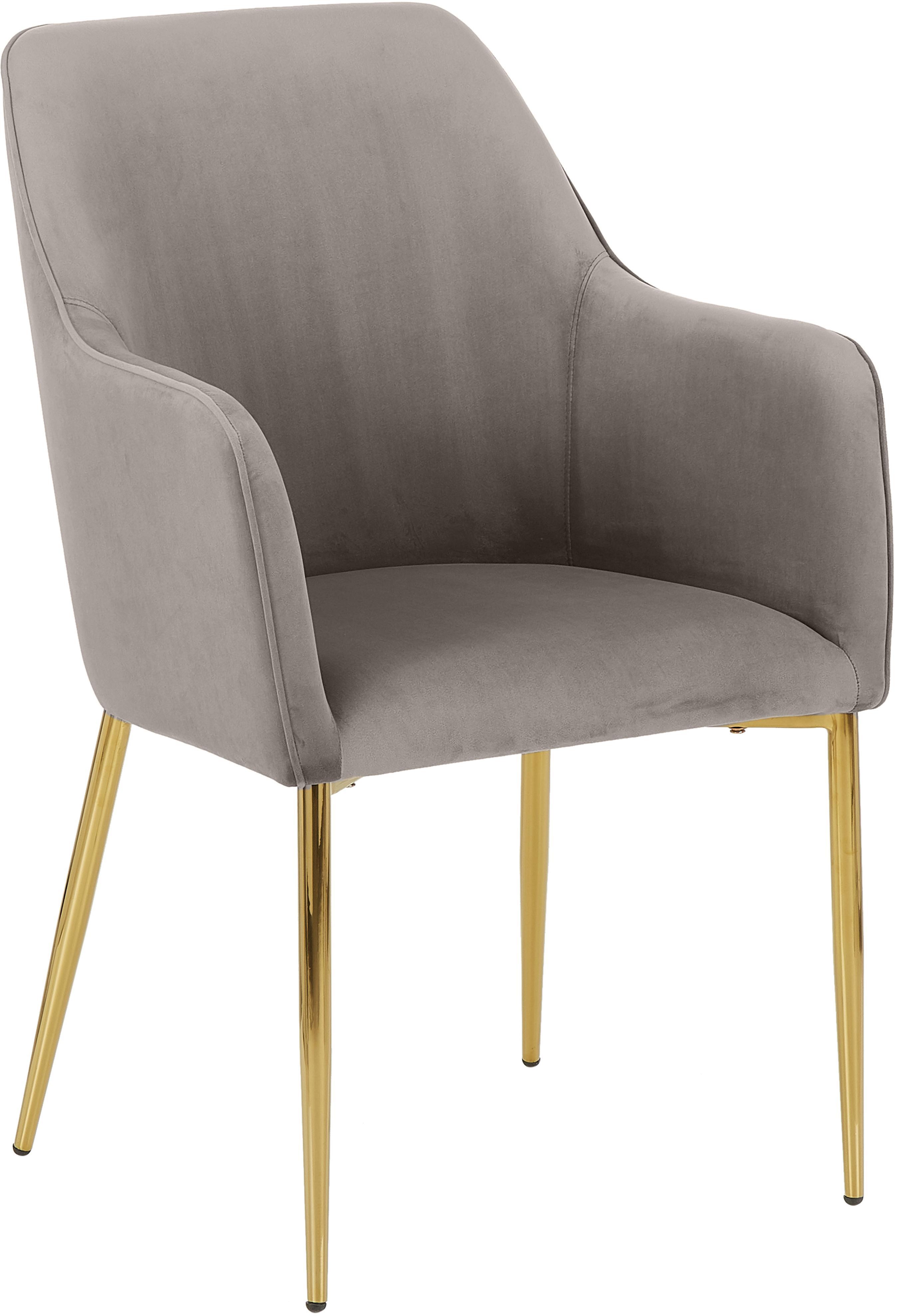 Sedia con braccioli  in velluto Ava, Rivestimento: velluto (poliestere) 50.0, Gambe: metallo, zincato, Velluto taupe, gambe oro, Larg. 57 x Prof. 62 cm