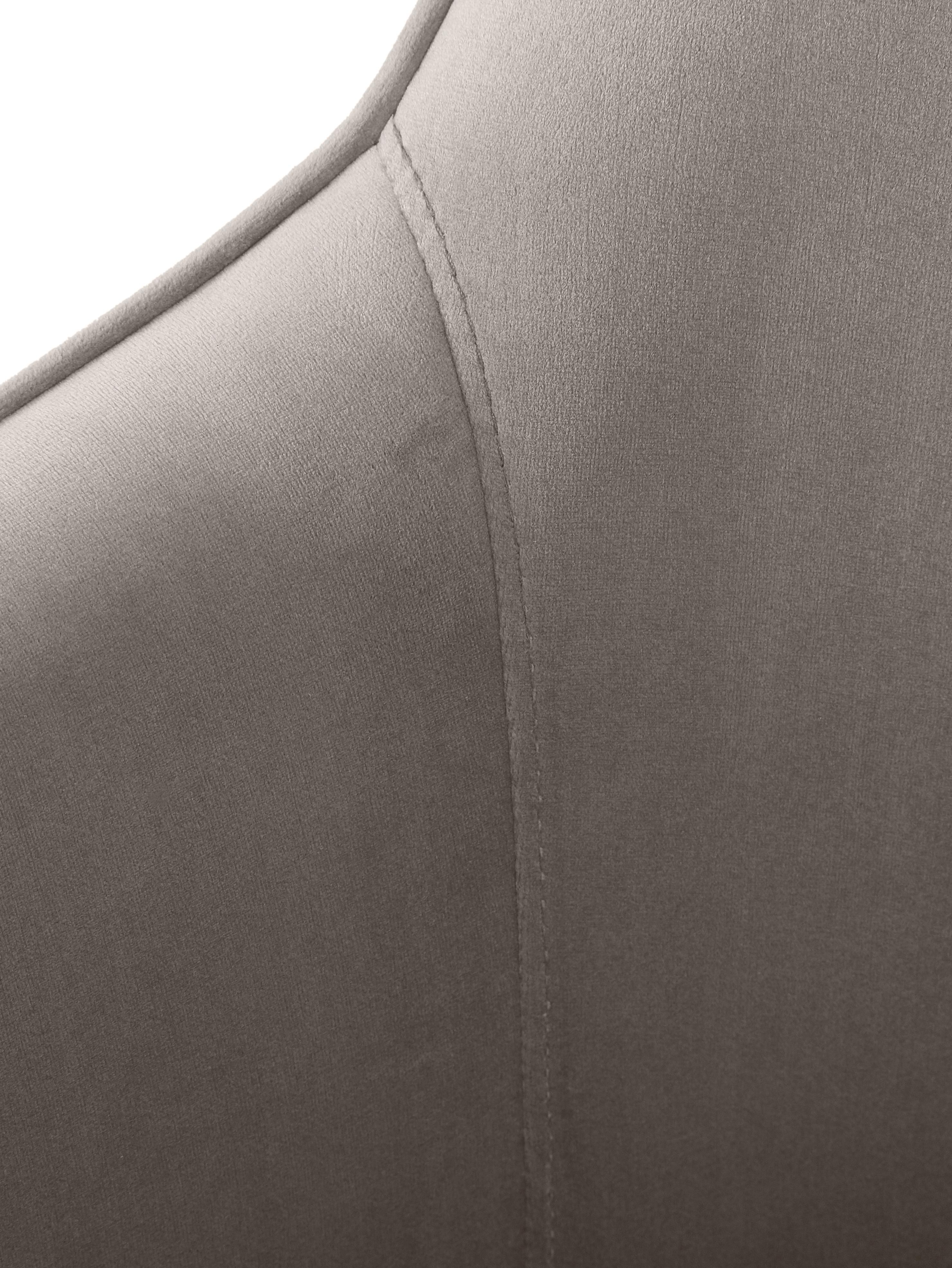 Samt-Armlehnstuhl Ava mit goldfarbenen Beinen, Bezug: Samt (Polyester) 50.000 S, Beine: Metall, galvanisiert, Samt Taupe, Beine Gold, B 57 x T 63 cm