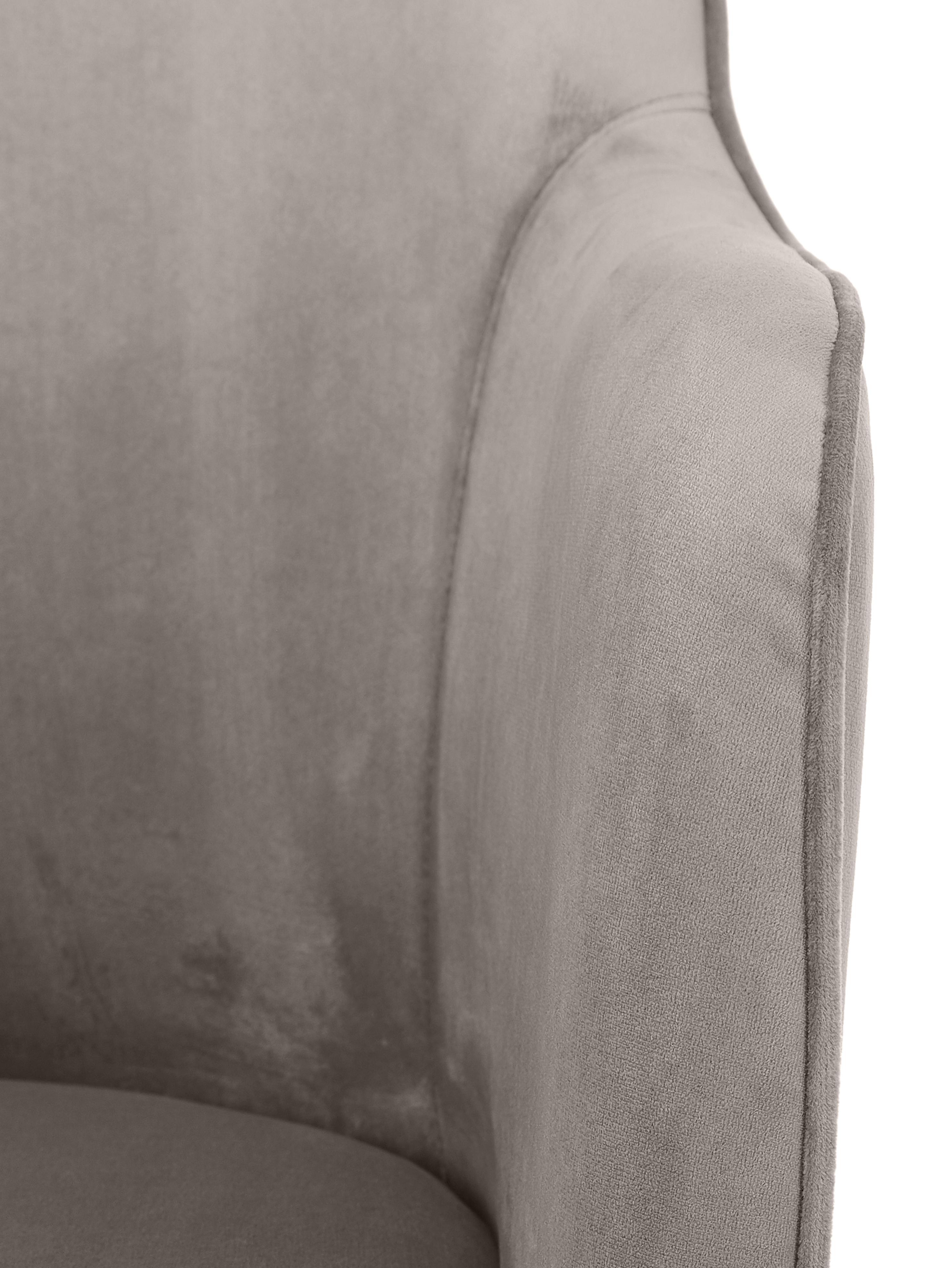 Chaise en velours à accoudoirs, avec pieds dorés Ava, Taupe