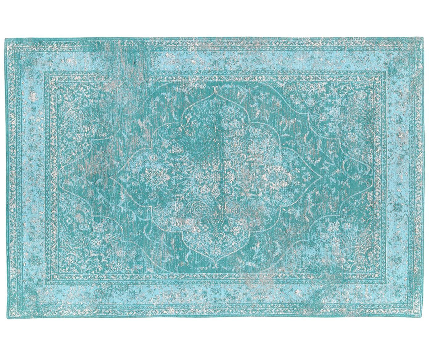 Handgeweven chenille vloerkleed Palermo, Bovenzijde: 95% katoen, 5% polyester, Onderzijde: 100% katoen, Turquoise, lichtblauw, crèmekleurig, 120 x 180 cm