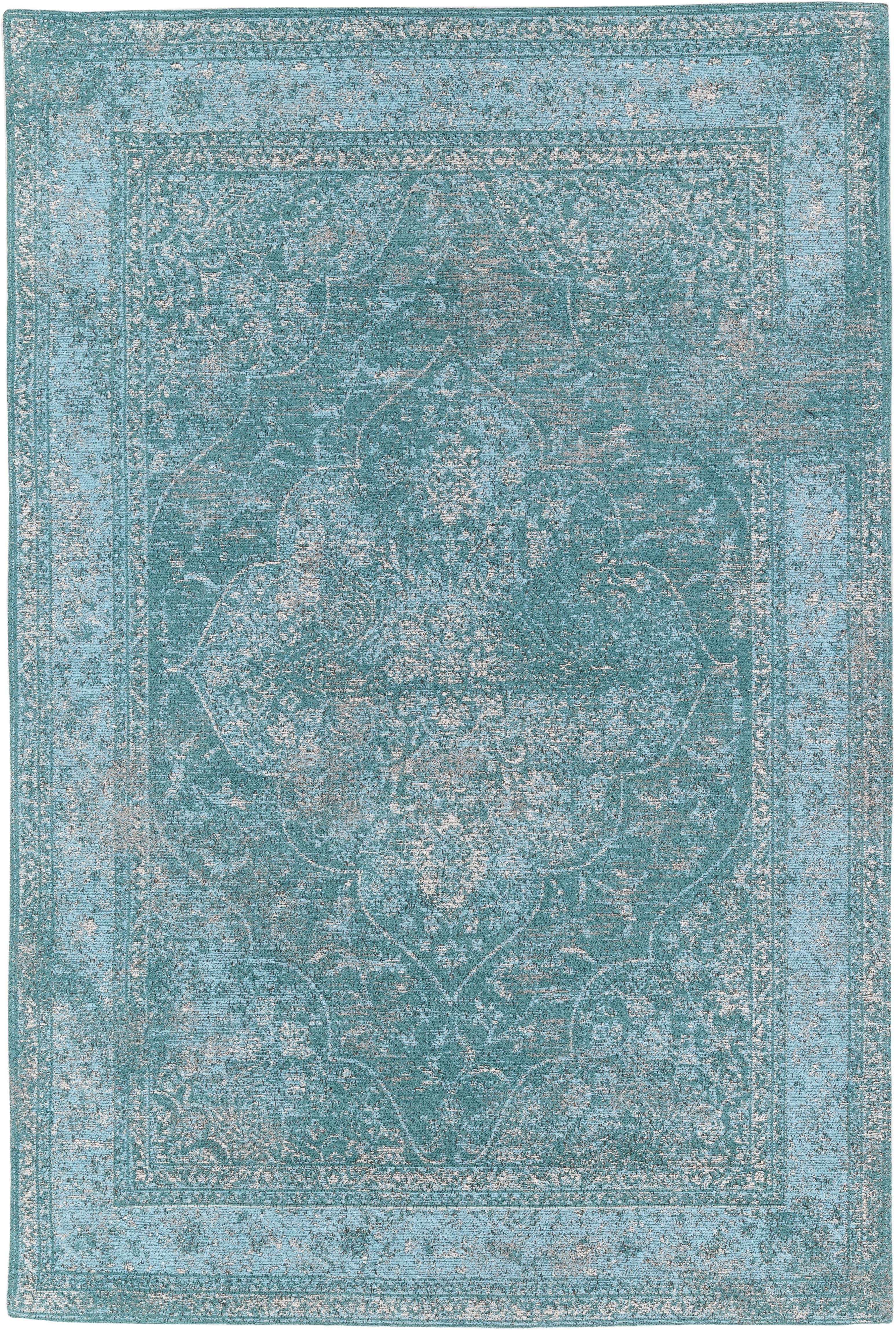 Ręcznie tkany dywan szenilowy Palermo, Turkusowy, jasny niebieski, kremowy, S 120 x D 180 cm