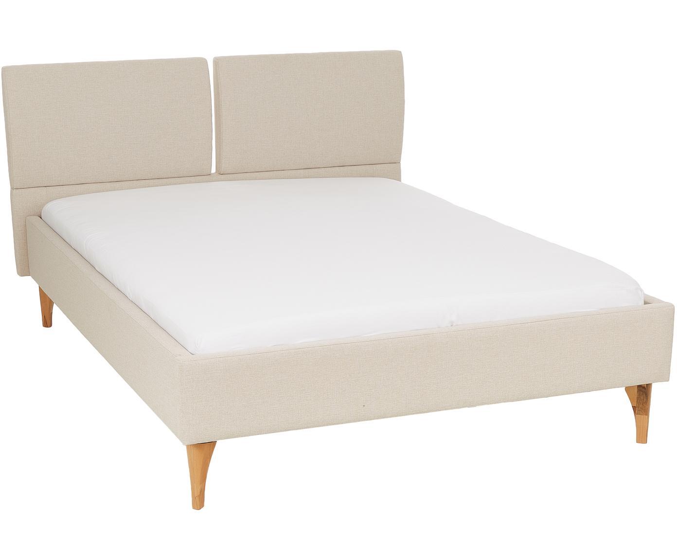 Gestoffeerd bed Tamara met hoofdeinde, Bekleding: polyester, Poten: beukenhout, geolied, Beige, beukenhoutkleurig, 140 x 200 cm