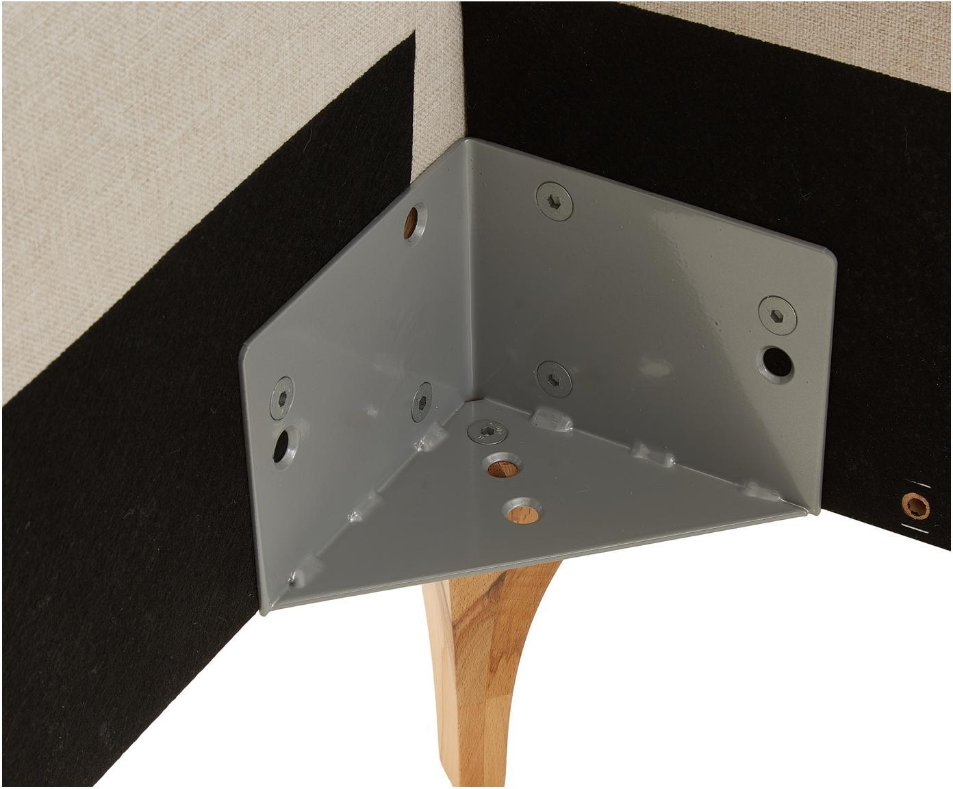 Polsterbett Tamara mit Kopfteil, Bezug: Polyester, Füße: Kernbuchenholz, geölt, Beige, Kernbuchenholz, 160 x 200 cm