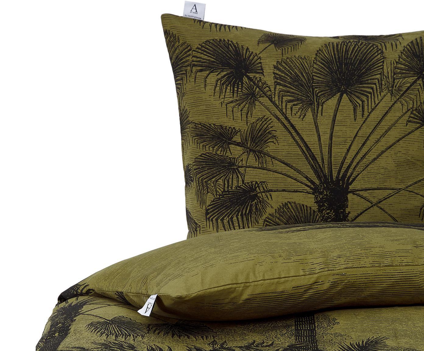 Baumwoll-Bettwäsche Tour du Monde, 100% Baumwolle  Fadendichte 144 TC, Standard Qualität  Bettwäsche aus Baumwolle fühlt sich auf der Haut angenehm weich an, nimmt Feuchtigkeit gut auf und eignet sich für Allergiker, Grün, Schwarz, 135 x 200 cm + 1 Kissen 80 x 80 cm