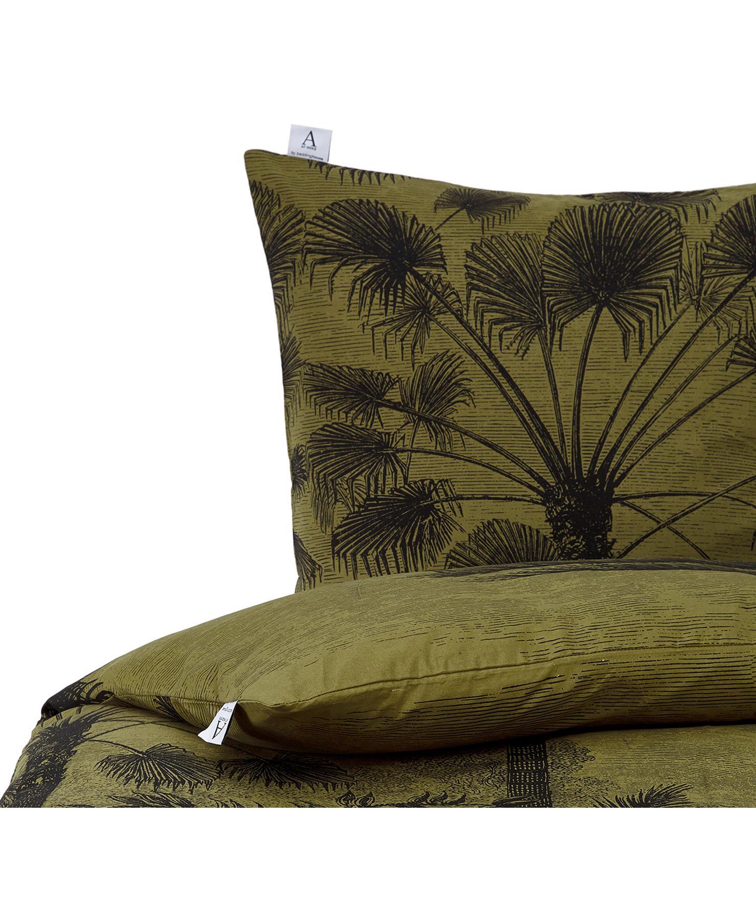 Baumwoll-Bettwäsche Tour du Monde in Kahki mit Palmenmotiv, 100% Baumwolle  Fadendichte 144 TC, Standard Qualität  Bettwäsche aus Baumwolle fühlt sich auf der Haut angenehm weich an, nimmt Feuchtigkeit gut auf und eignet sich für Allergiker, Grün, Schwarz, 135 x 200 cm + 1 Kissen 80 x 80 cm