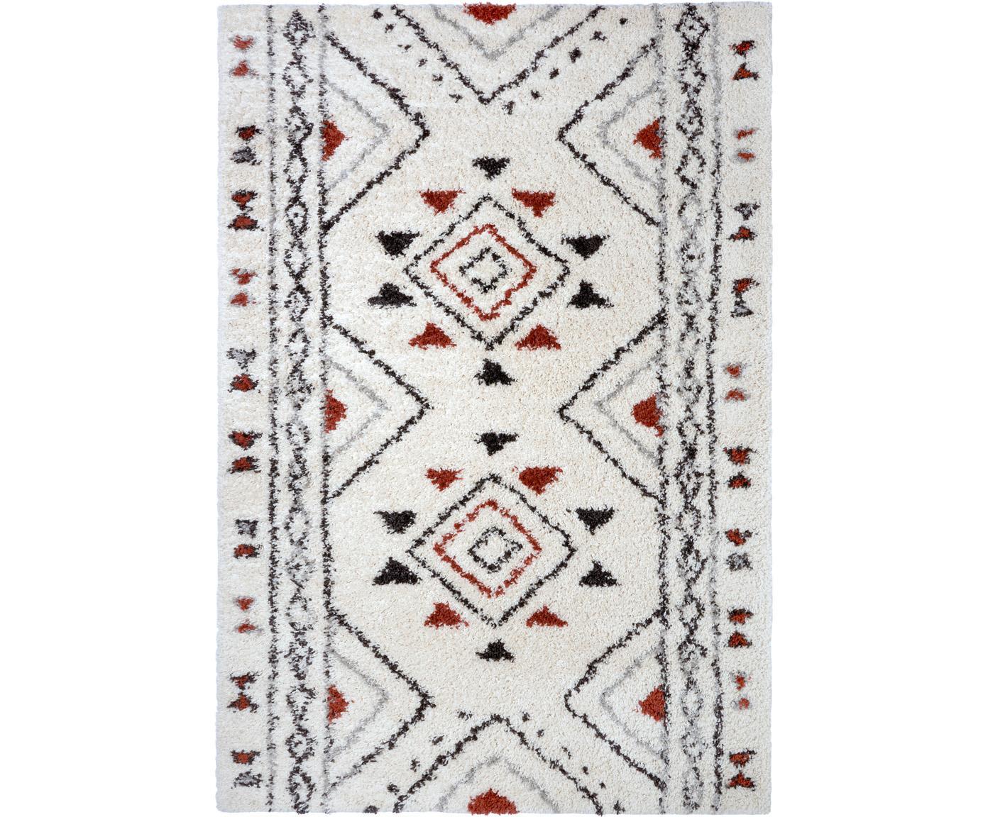 Hochflor-Teppich Hurley mit Ethnomuster, 100% Polypropylen, Cremefarben, Grau, Schwarz, Rostbraun, B 80 x L 150 cm (Größe XS)