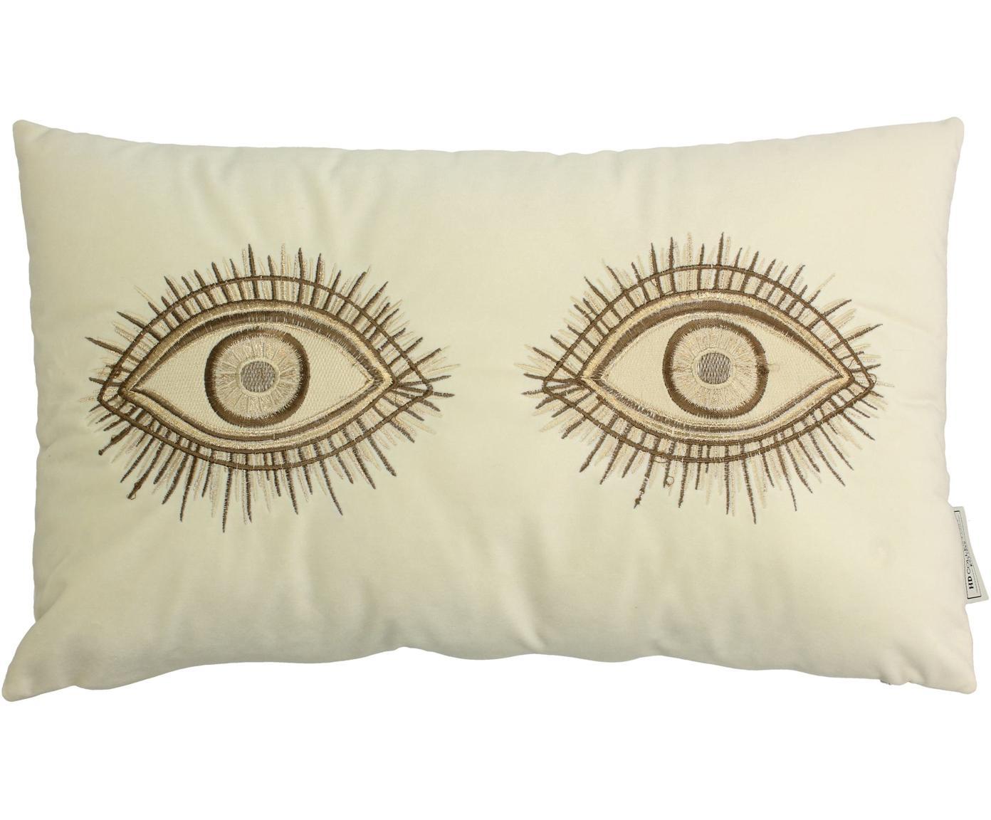 Fluwelen kussen Eyes met borduurwerk, met vulling, Fluweel, Ivoorkleurig, bruin, 30 x 50 cm