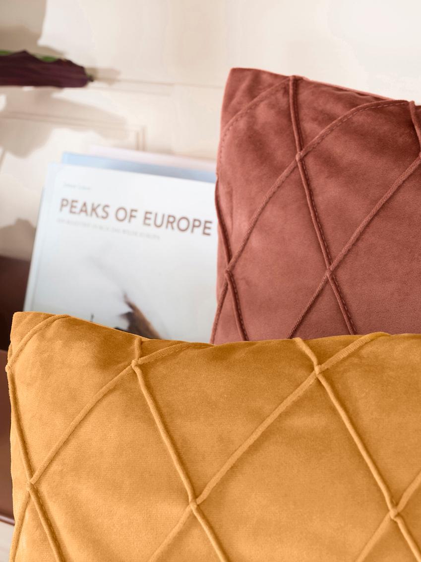 Sametový povlak na polštář s plastickým vzorem Nobless, Žlutá