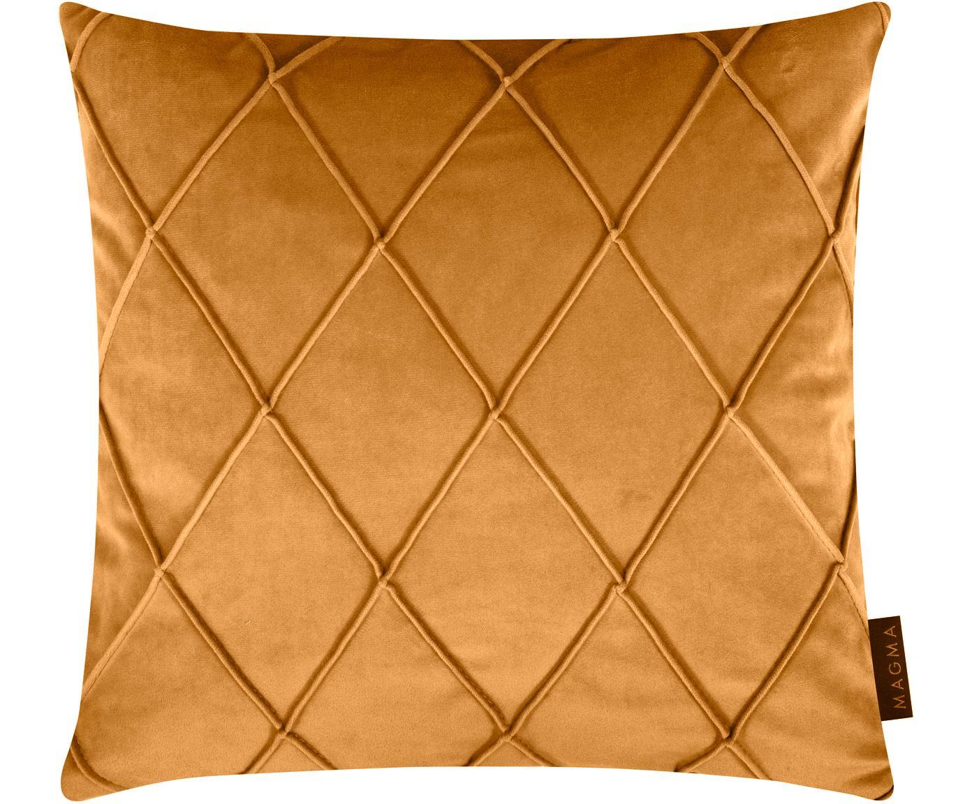 Samt-Kissenhülle Nobless mit erhabenem Rautenmuster, 100% Polyestersamt, Gelb, 40 x 40 cm