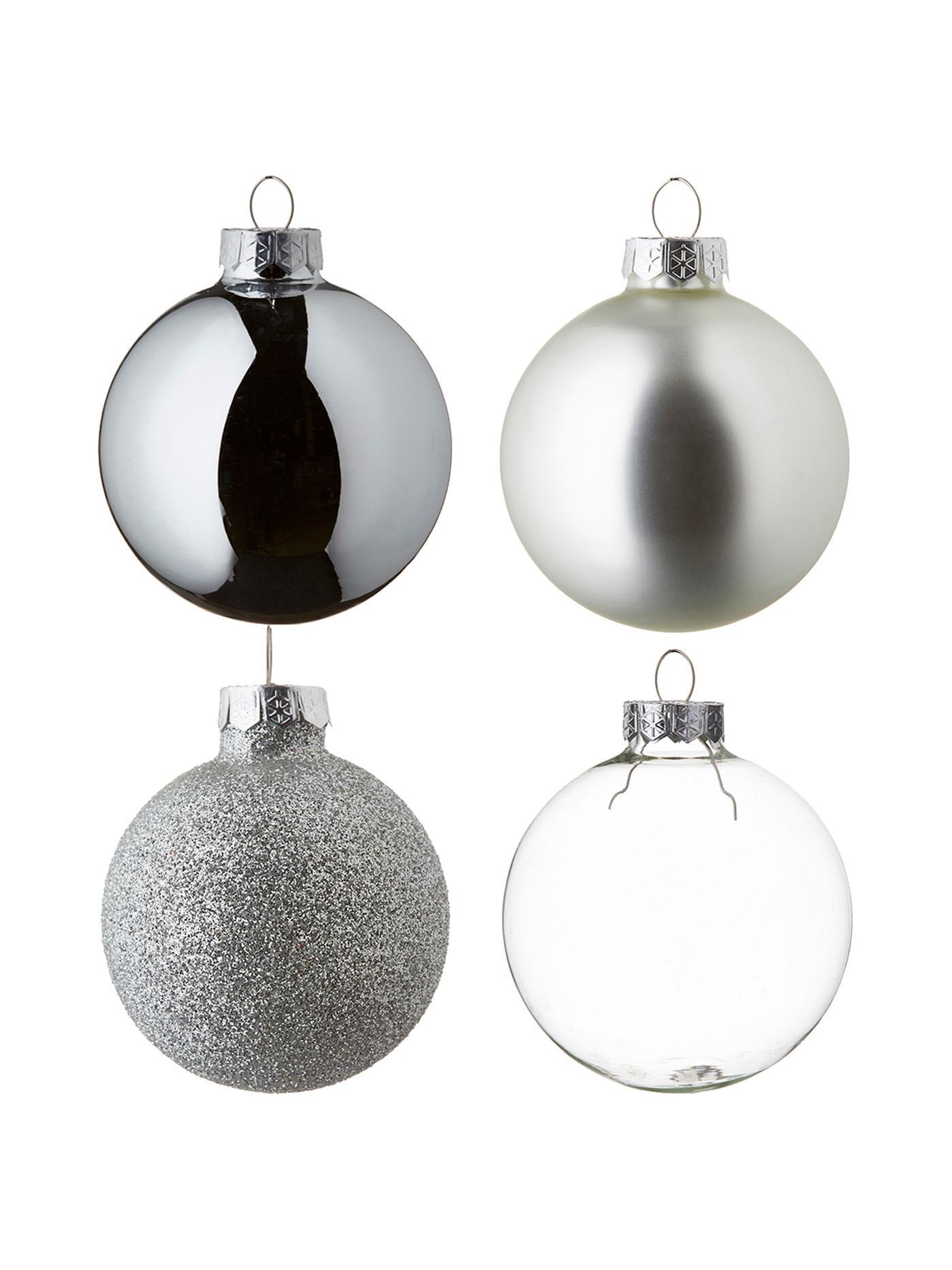 Weihnachtskugel-Set Globe, 42-tlg., Glas, Silber, Transparent, Verschiedene Grössen