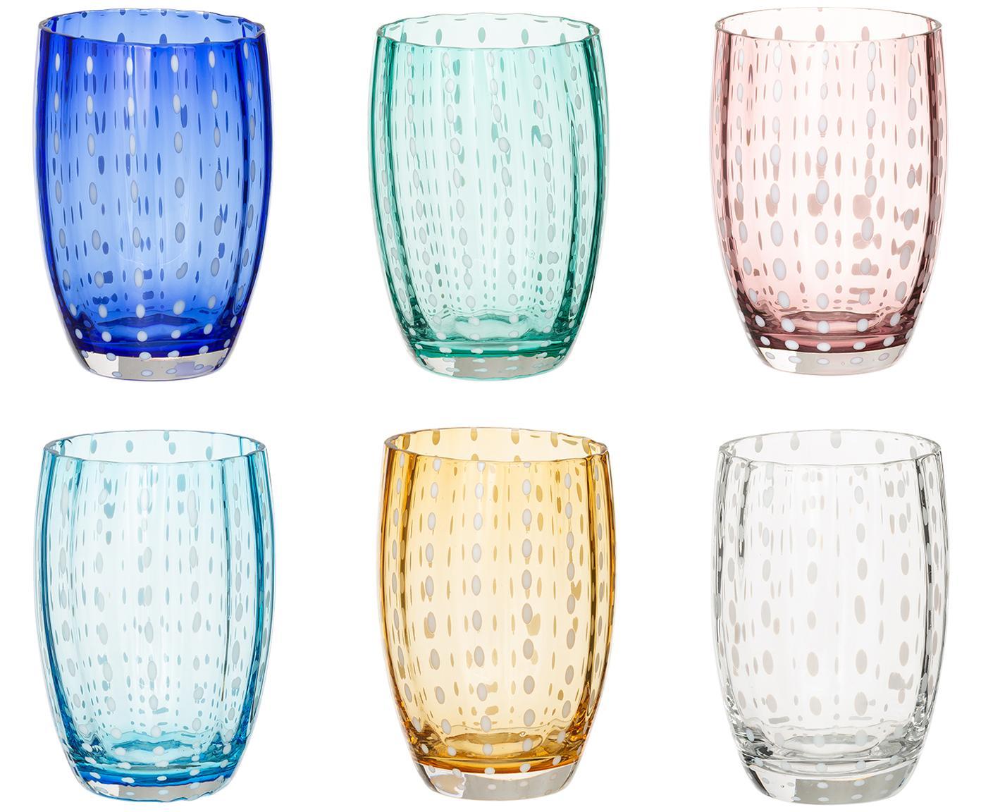 Mundgeblasenes Wassergläser Perle, 6er-Set, Glas, Transparent, Weiss, Aqua, Bernsteinfarben, Pastellviolett, Rot und Grün, Ø 7 x H 11 cm