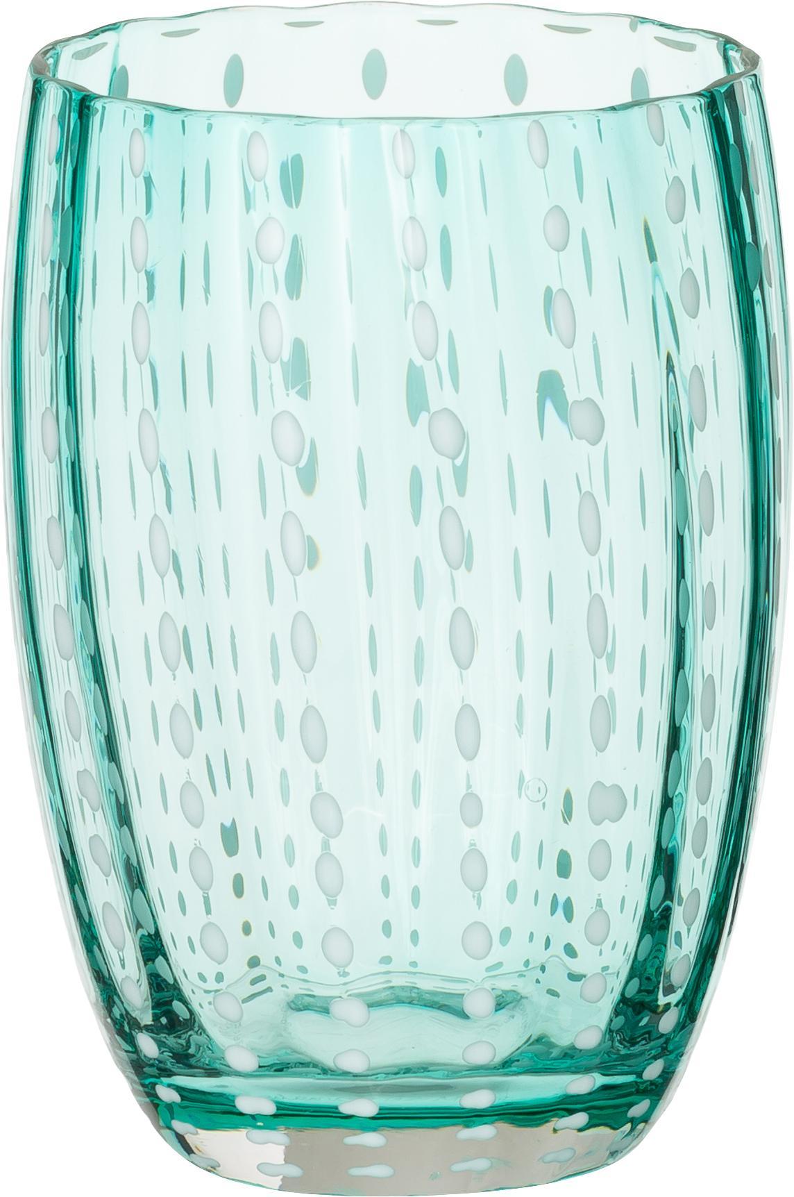 Ensemble de verres à eau soufflés bouche Perle, 6élém., Transparent, blanc, aqua, ambré, violet pastel, rouge et vert