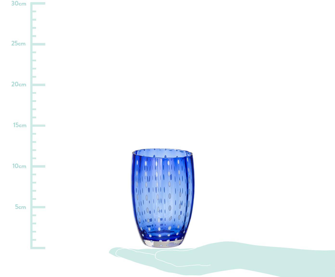 Bicchiere acqua in vetro soffiato Pearl, set di 6, Vetro, Trasparente, bianco, acqua, ambra, rosa cipria, rosso o verde, Ø 7 x Alt.11 cm
