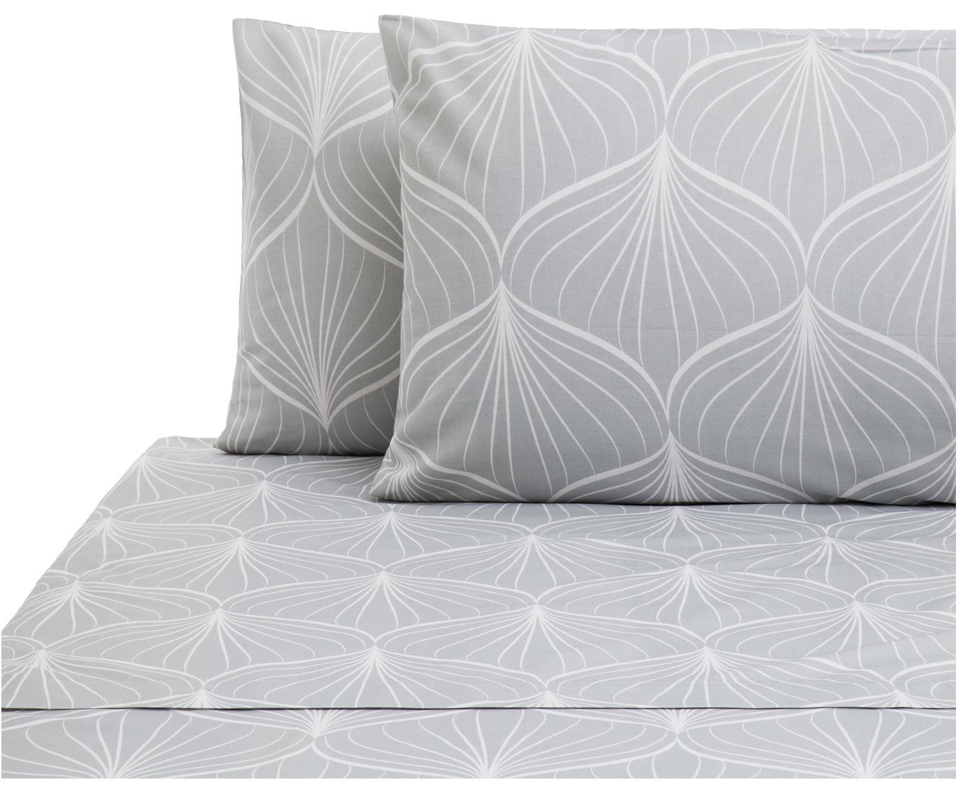 Set lenzuola in cotone Rama 2 pz, Cotone, Grigio, bianco, 160 x 200 cm