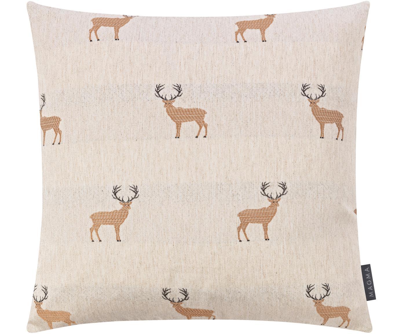 Federa arredo con motivo cervo Bruno, Retro: velluto di poliestere, Sabbia, marrone, nero, Larg. 50 x Lung. 50 cm