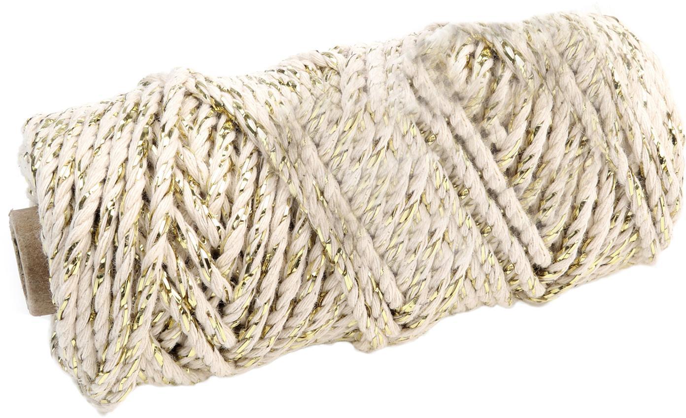 Geschenkschnur Twist, Baumwolle mit Lurexfaden, Beige, Goldfarben, L 25 m