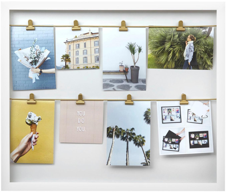 Portafoto con mollette Clipline, Materiale sintetico, Bianco, 10 x 15 cm