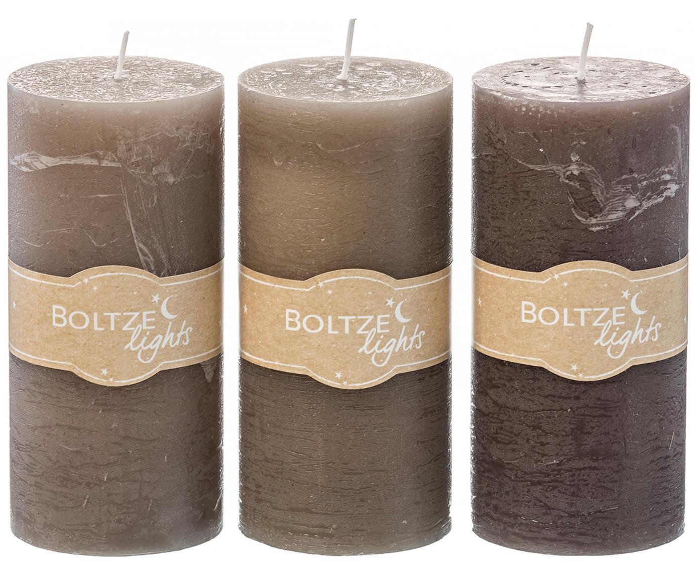Set 3 candele pilastro Trent, Cera, Tonalità marrone, Ø 7 x Alt. 15 cm