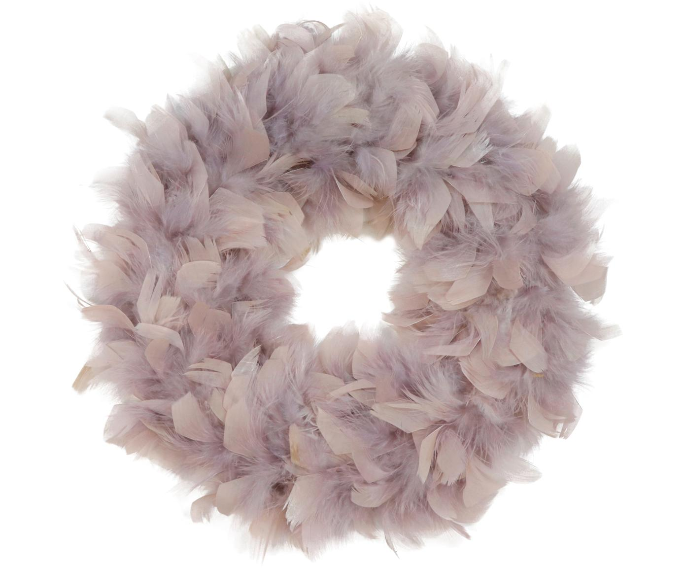 Corona de plumas Rose, Plumas, espuma de poliestireno, Rosa, Ø 29 cm