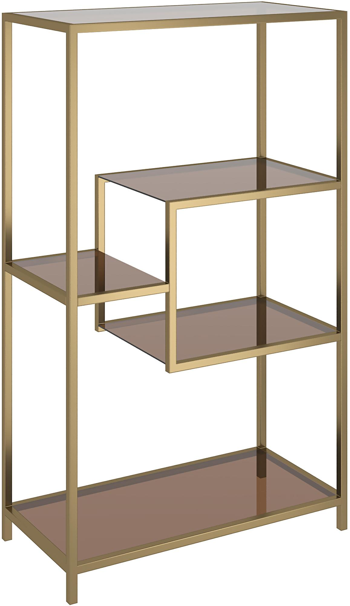 Estantería de metal Loft, Estructura: metal con pintura en polv, Estantería: vidrio laminado tintado, Latón, An 60 x Al 100 cm