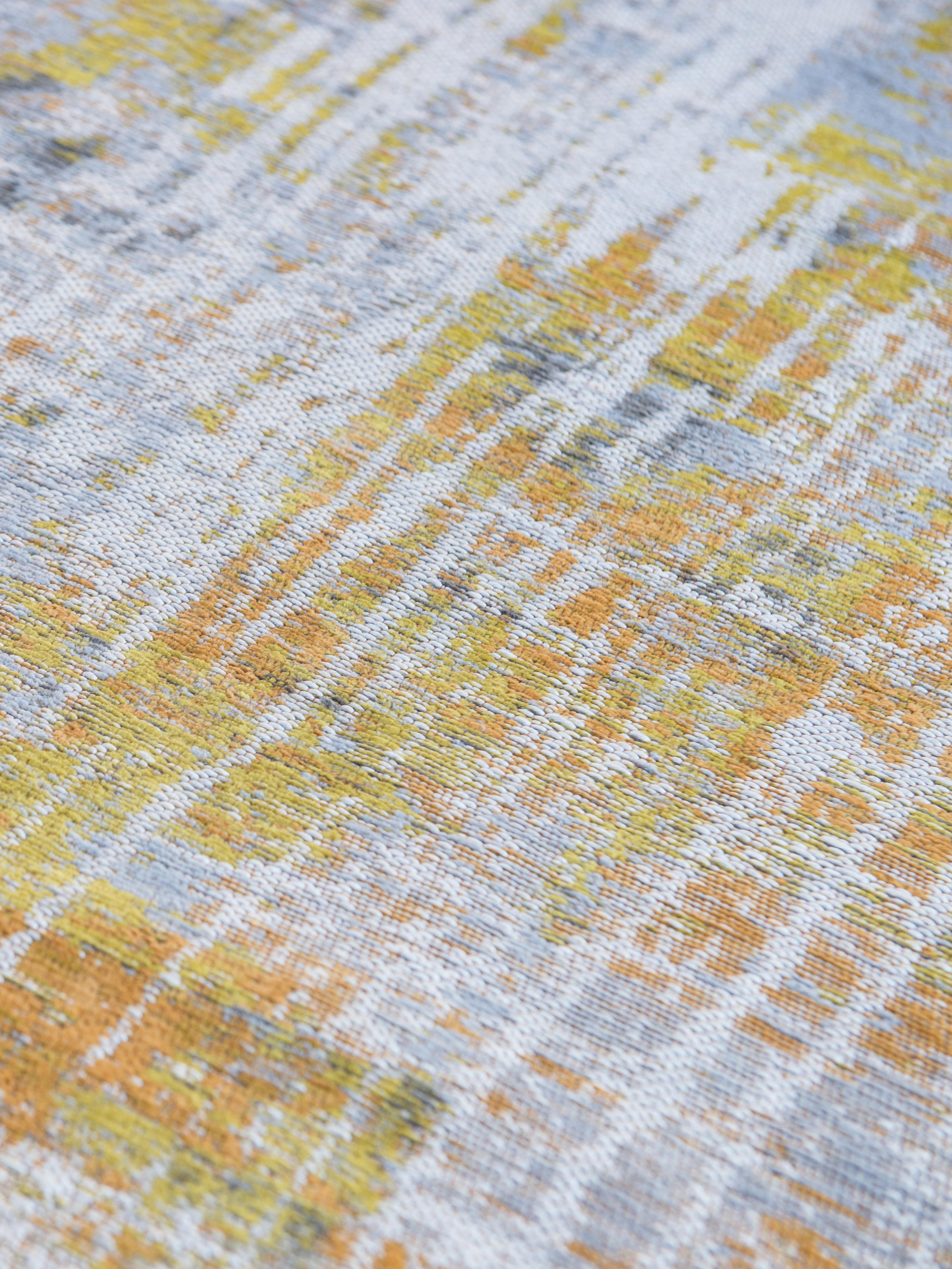Designteppich Streaks in Grau/Gelb, Vorderseite: 85%Baumwolle, 15%hochgl, Webart: Jacquard, Rückseite: Baumwollgemisch, latexbes, Gelb, Grau, Weiß, B 200 x L 280 cm (Größe L)