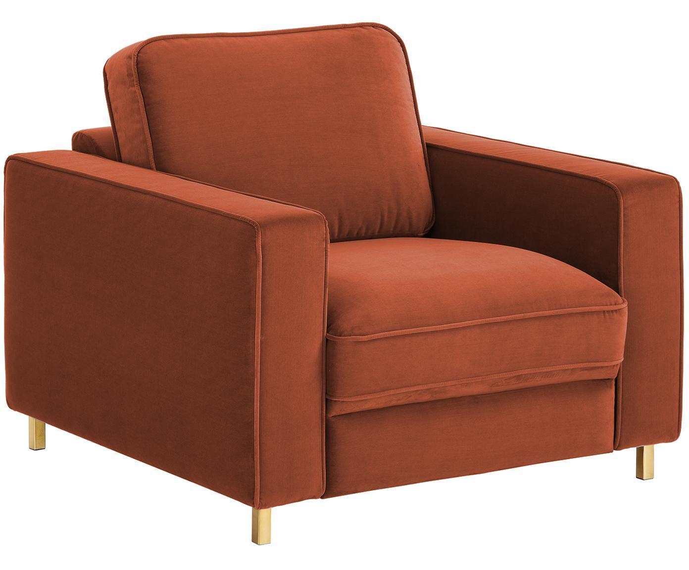 Fotel z aksamitu Chelsea, Tapicerka: aksamit (wysokiej jakości, Stelaż: lite drewno świerkowe, Tapicerka: pianka na zawieszeniu spr, Nogi: metal malowany proszkowo, Rudy, S 83 x G 93 cm