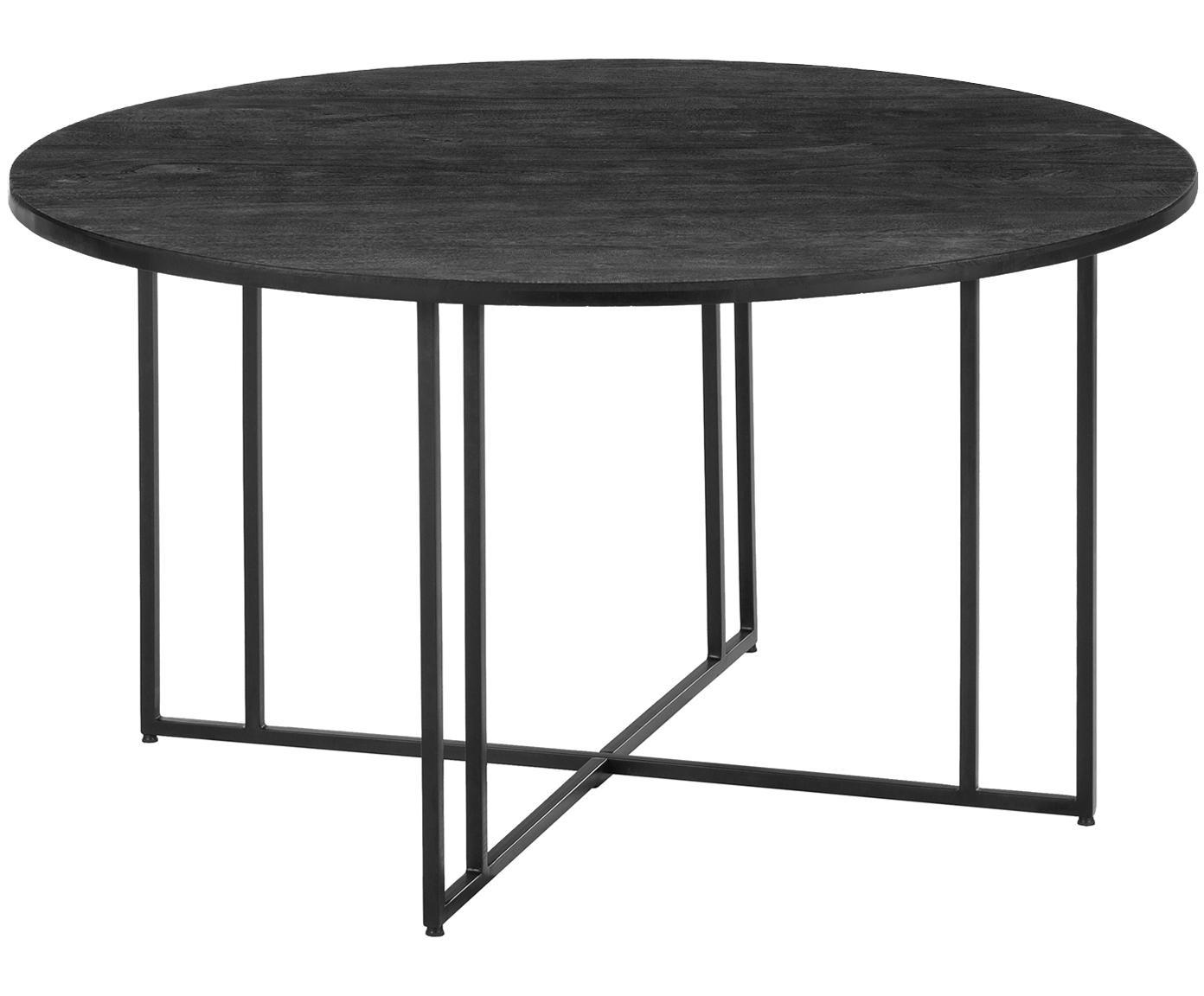 Runder Massivholz Esstisch Luca, Tischplatte: Massives Mangoholz, gebür, Gestell: Metall, pulverbeschichtet, Tischplatte: Mangoholz, schwarz lackiertGestell: Schwarz, matt, ∅ 140 x H 75 cm