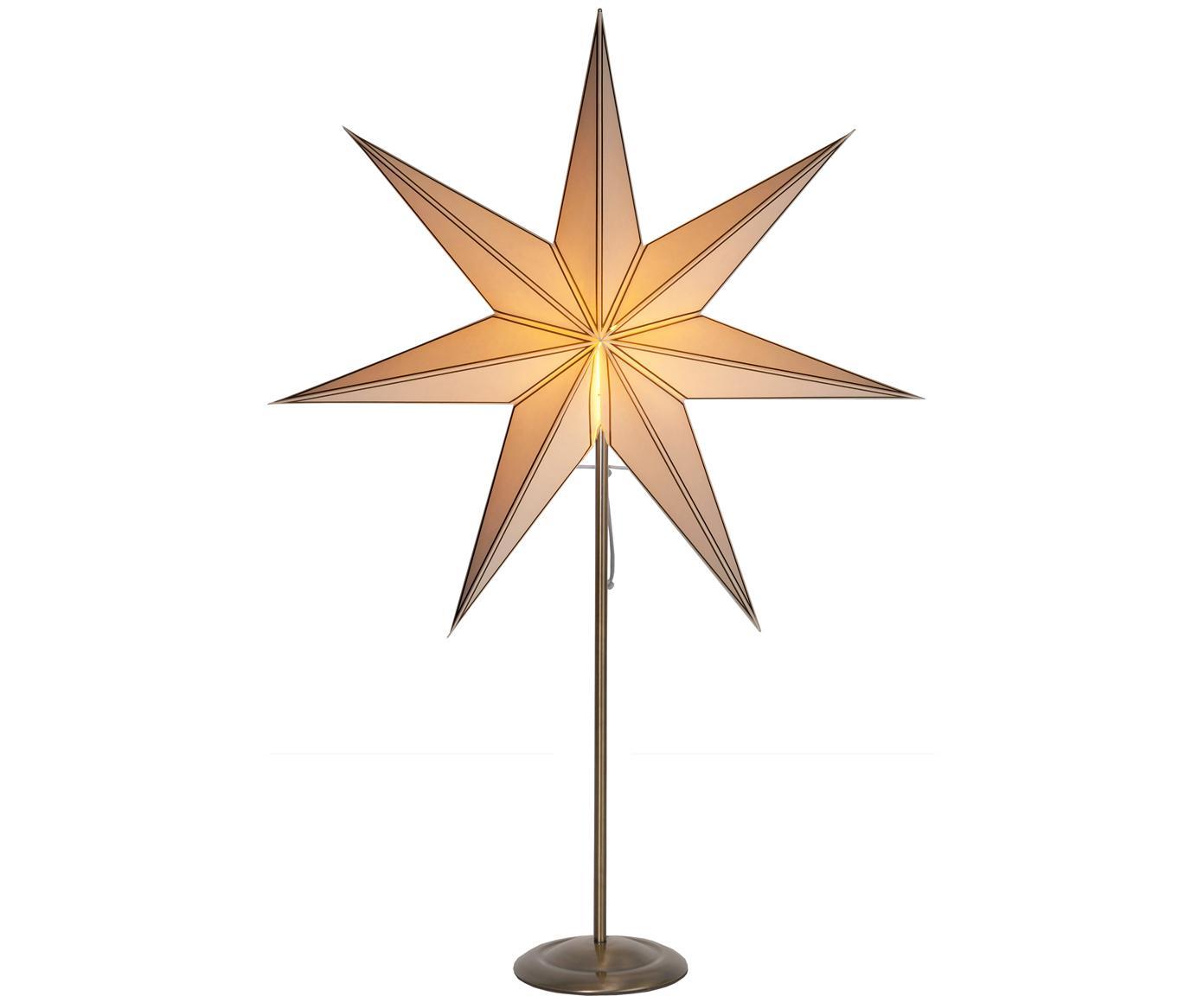 Lichtobject Nicolas, met stekker, Lampenkap: papier, Lampvoet: gecoat metaal, Beige, messingkleurig met antieke afwerking, 60 x 90 cm