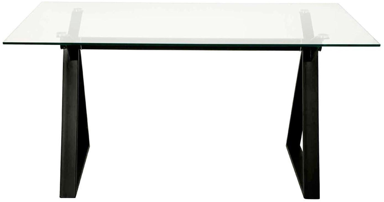 Escritorio Job, Estructura: acero con pintura en polv, Tablero: vidrio templado de 10 mm, Transparente, negro, An 150 x F 90 cm