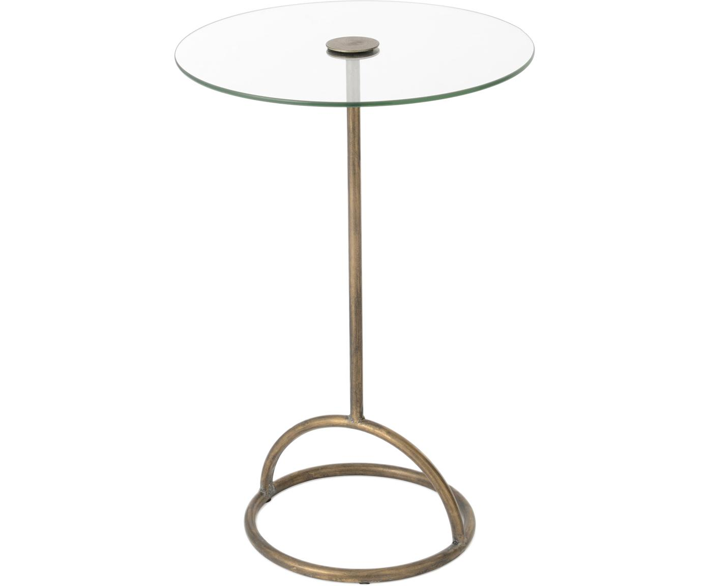 Mesa auxiliar Genie, Tablero: vidrio, Dorado, Ø 40 x Al 61 cm
