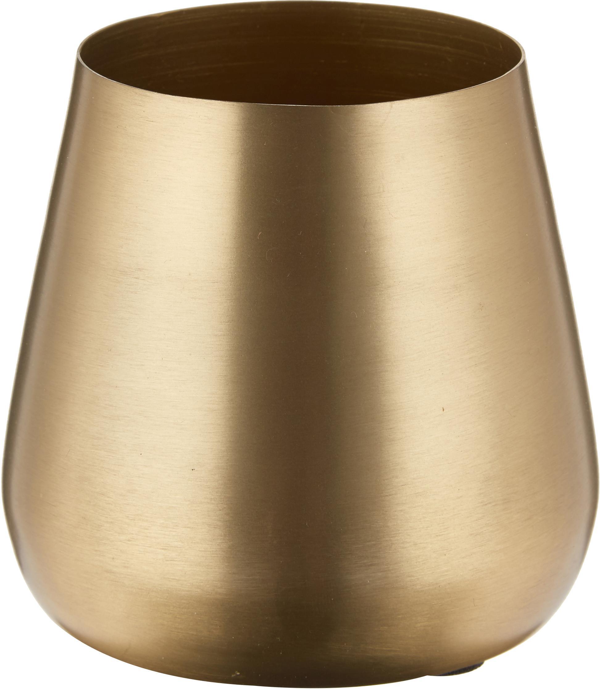Vaso decorativo in metallo Simply, Metallo rivestito e non impermeabile, Ottonato, Ø 10 x Alt. 9 cm