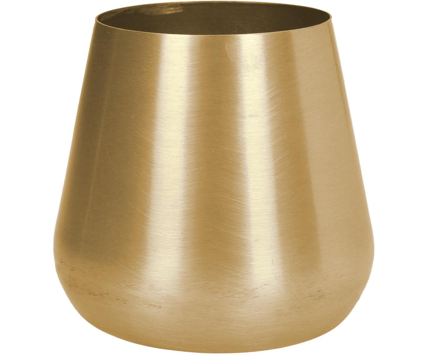 Mały wazon dekoracyjny z metalu Simply, Metal powlekany i niewodoodporny, Odcienie mosiądzu, Ø 10 x W 9 cm