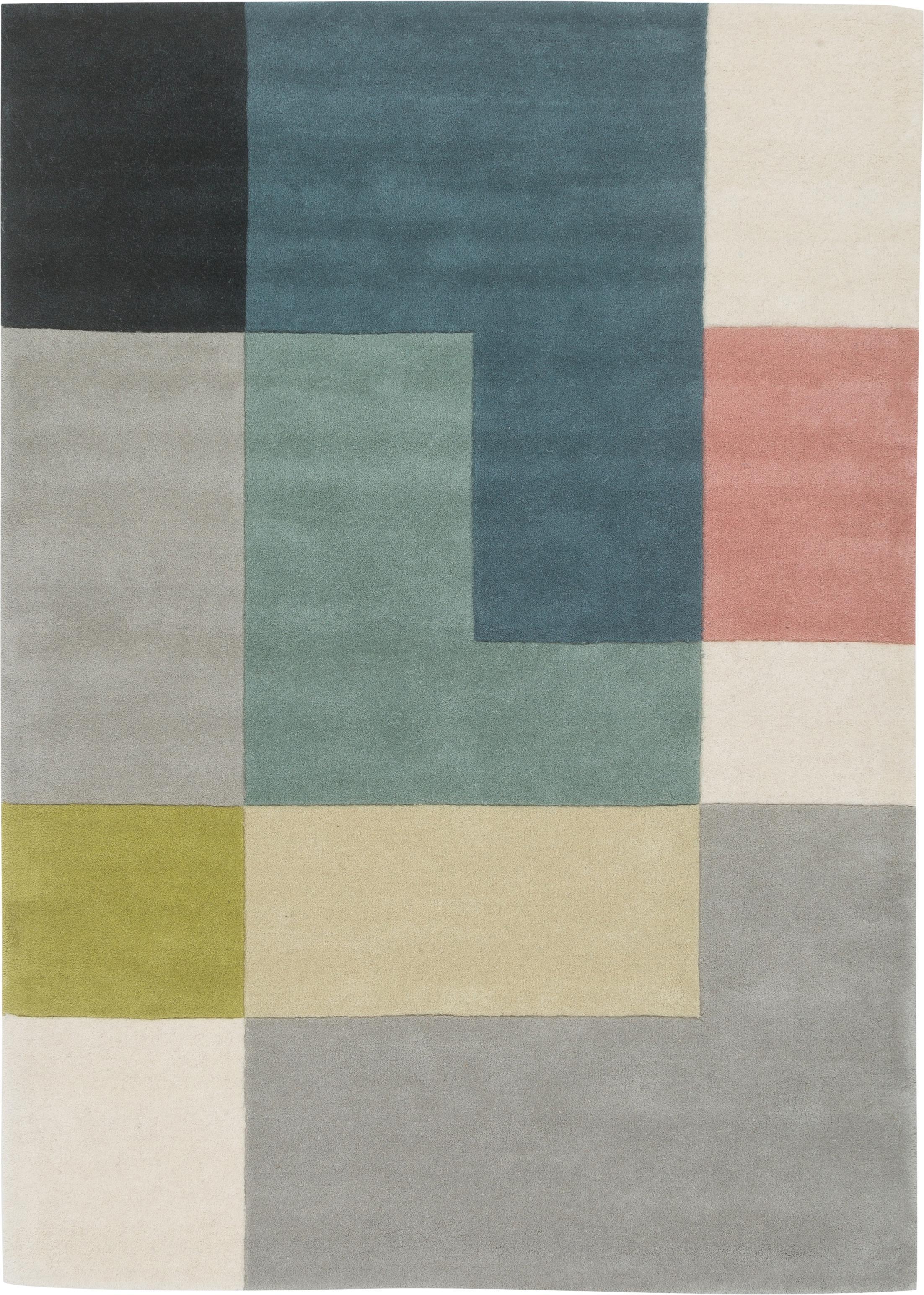Tappeto di design in lana Tetris, Multicolore, Larg. 140 x Lung. 200 cm (taglia S)