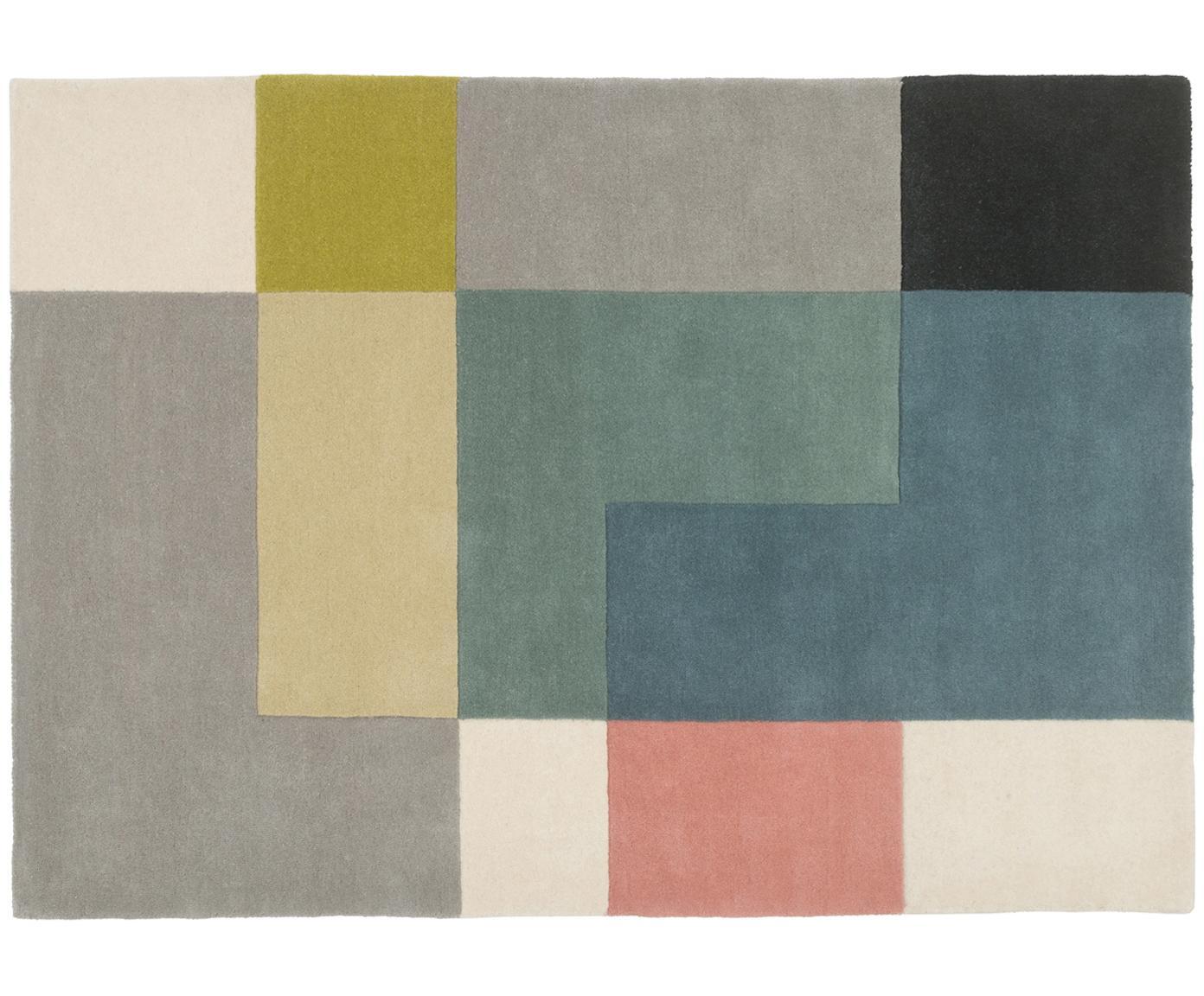Designteppich Tetris aus Wolle, handgetuftet, Mehrfarbig, B 140 x L 200 cm (Größe S)