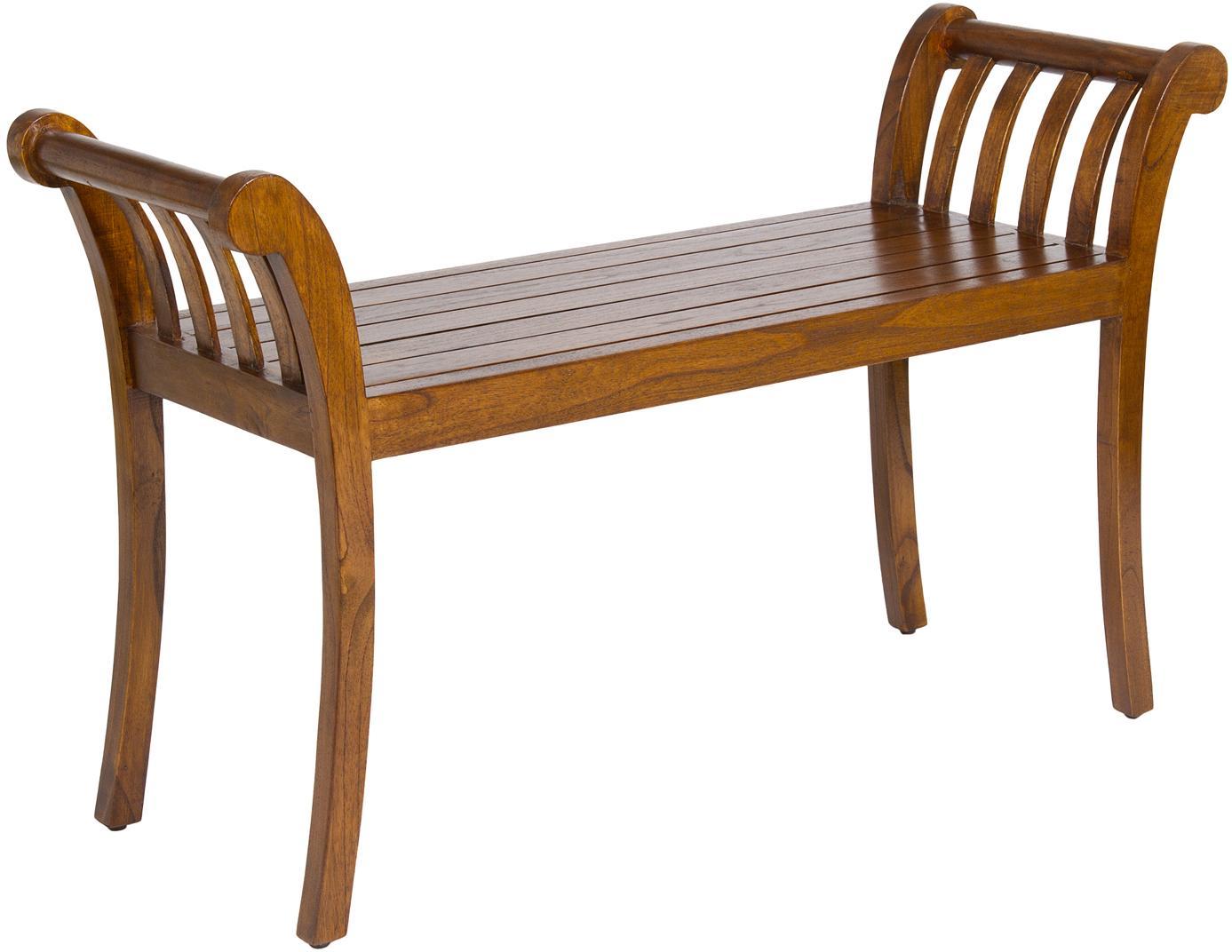 Panca in legno d'acacia Corwin, Legno d'acacia, verniciato e laccato, Marrone scuro, Larg. 105 x Alt. 64 cm