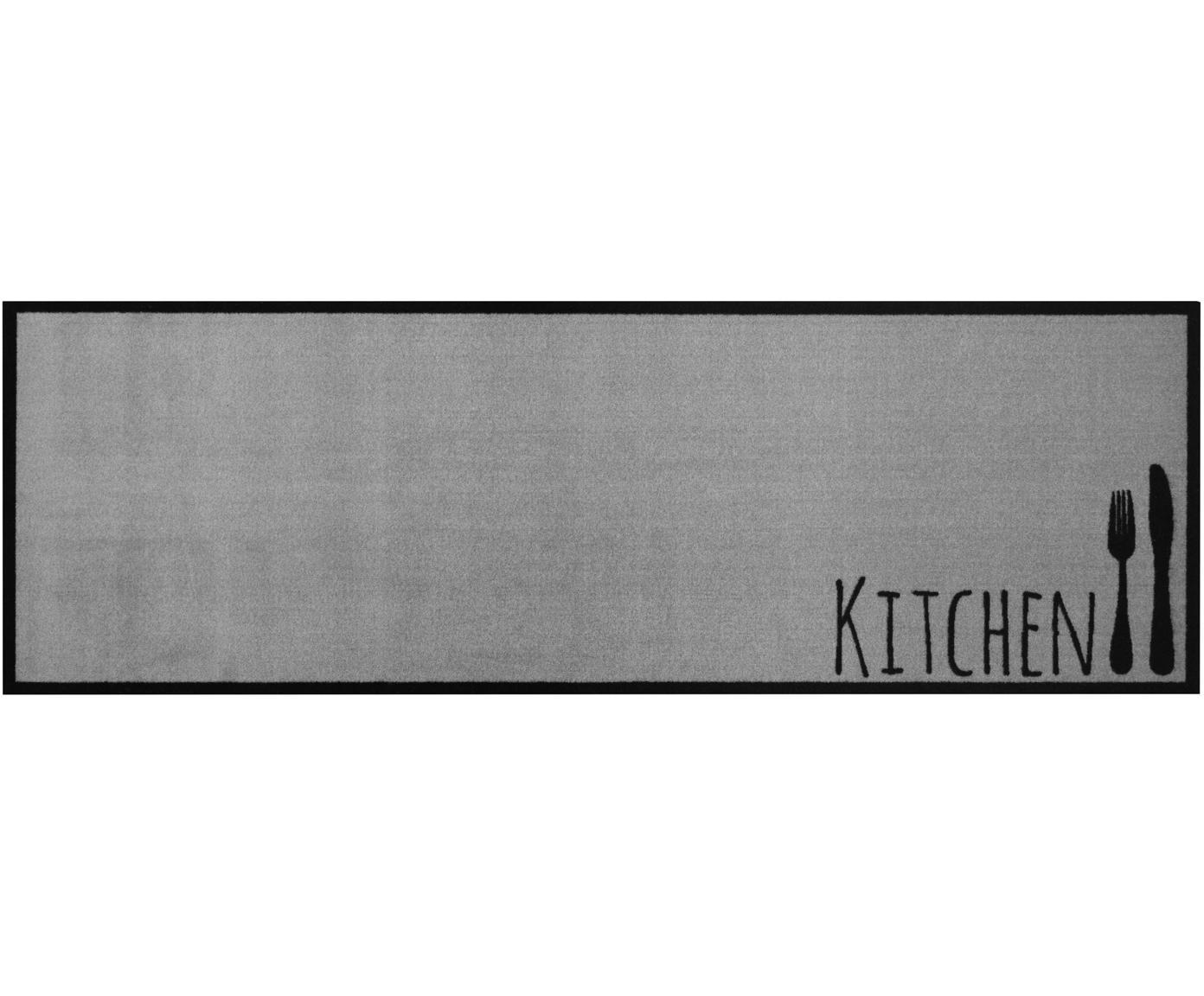 Wasbare keukenloper Kitchen Cutlery, antislip, Onderzijde: rubber, Grijs, zwart, 50 x 150 cm