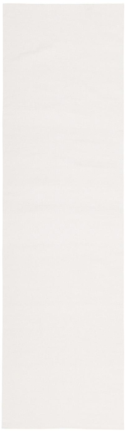 Dunne handgeweven katoenen loper Agneta, Katoen, Crèmewit, 70 x 250 cm
